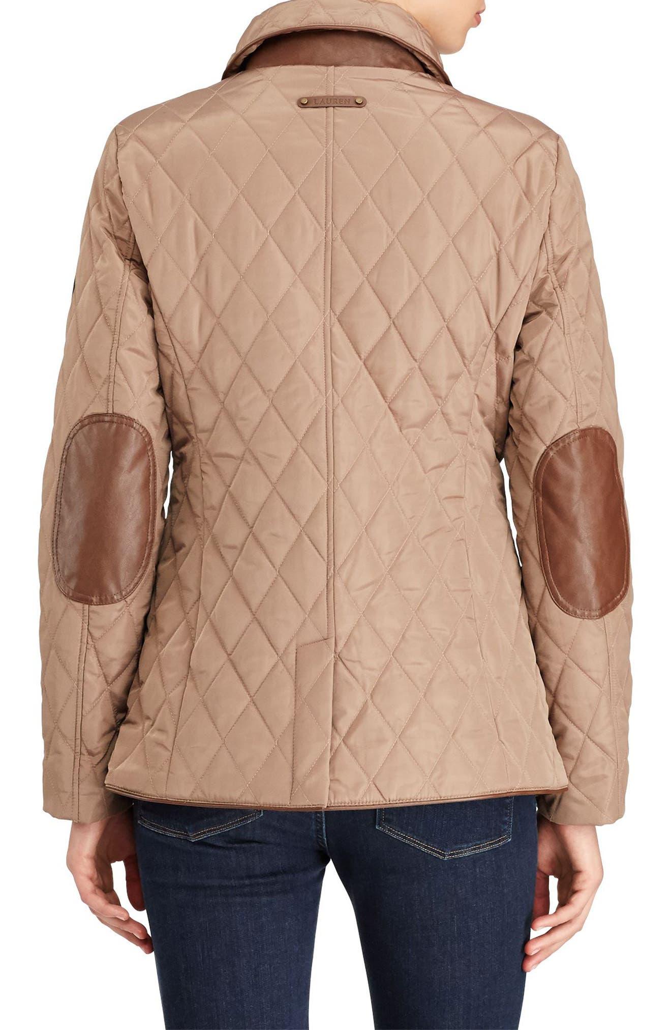 Faux Leather Trim Quilted Jacket,                             Alternate thumbnail 3, color,                             Bridle