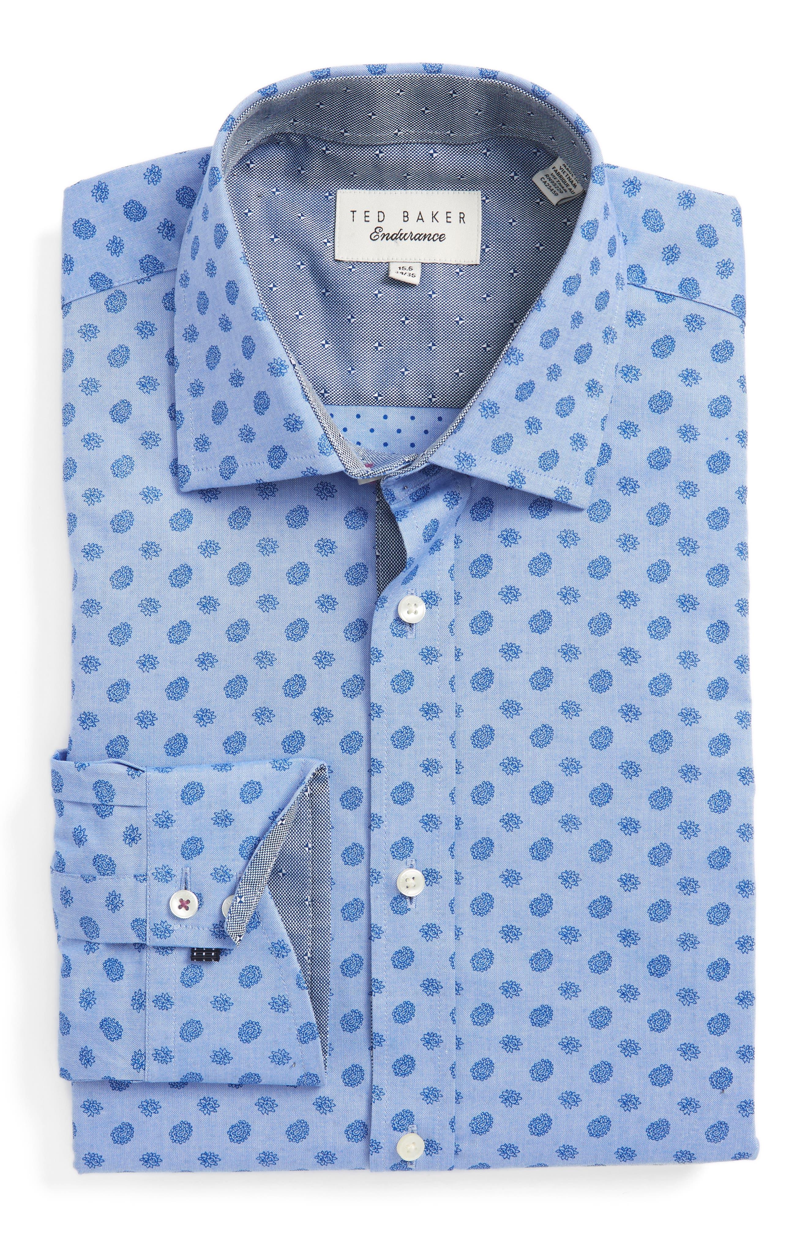 Midra Trim Fit Paisley Dress Shirt,                             Main thumbnail 1, color,                             Blue