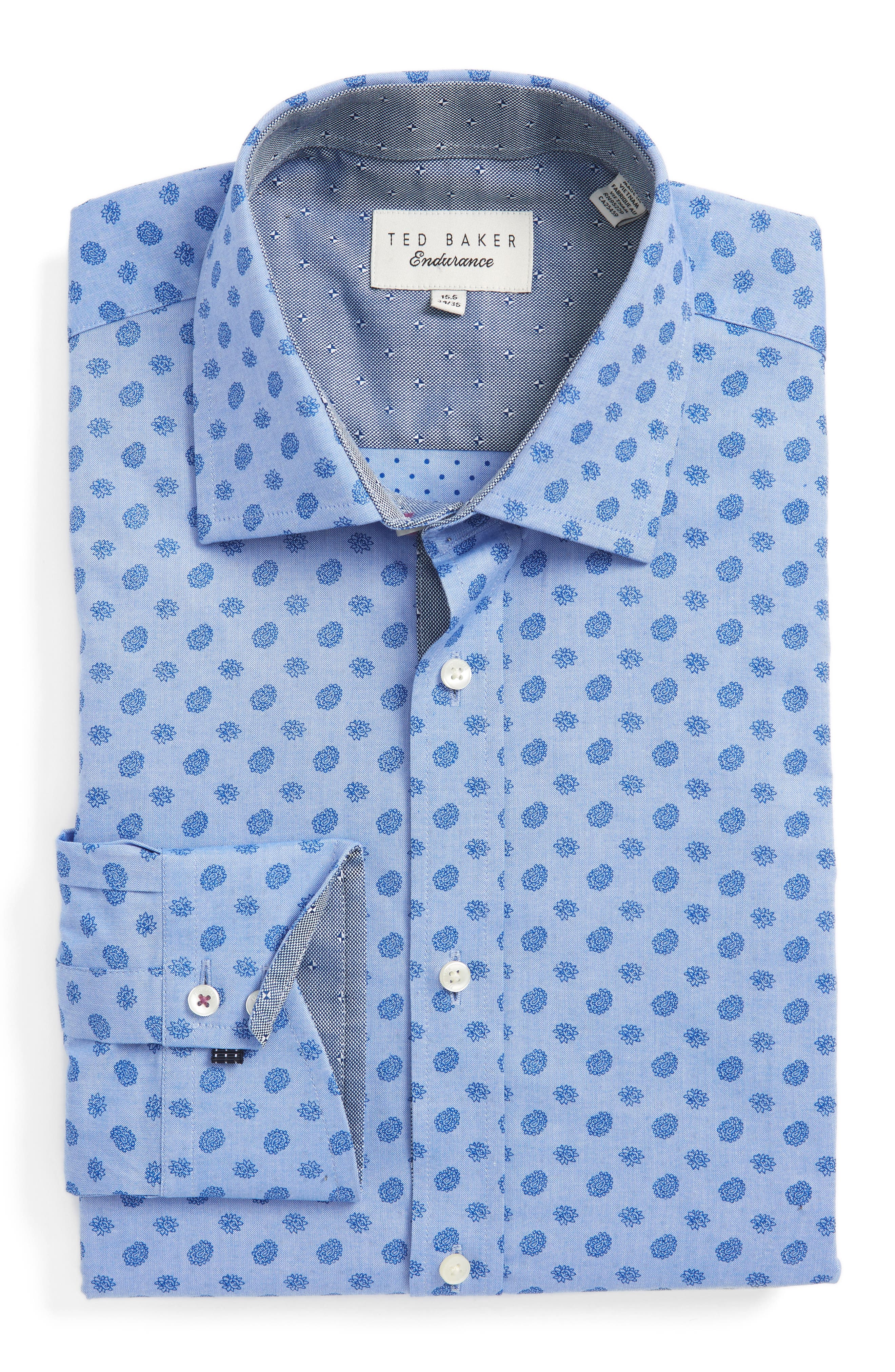 Midra Trim Fit Paisley Dress Shirt,                         Main,                         color, Blue