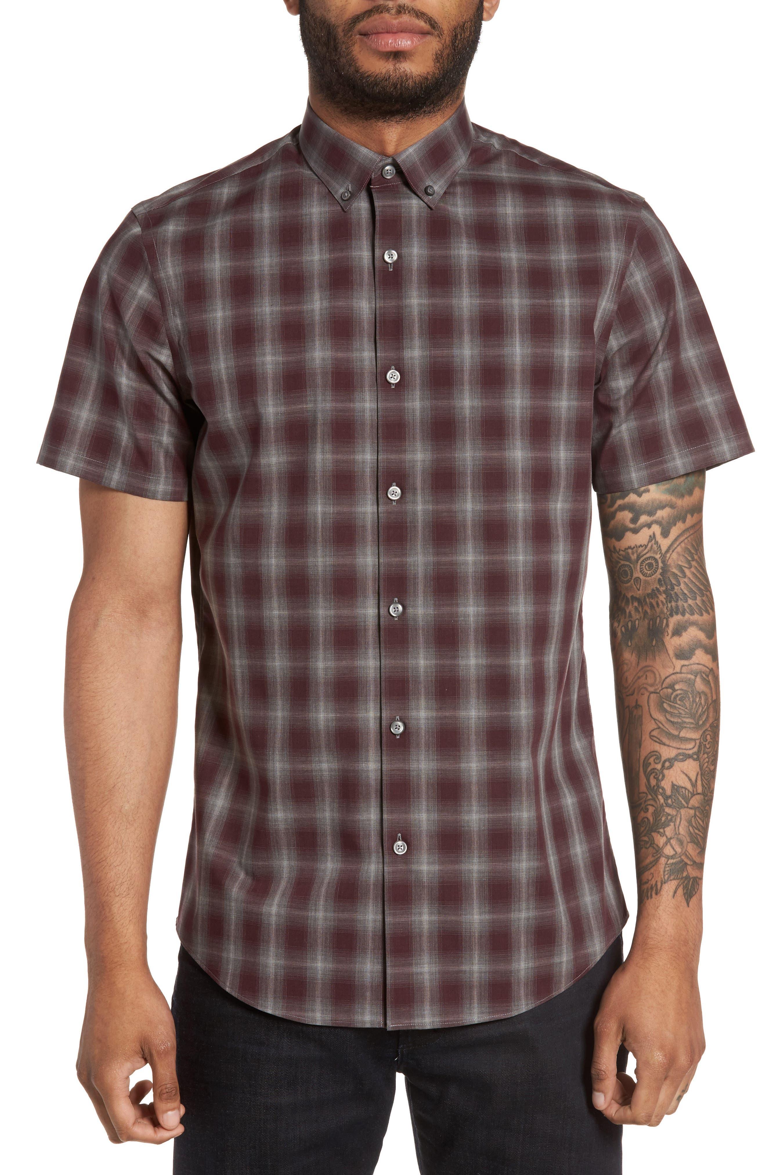 Plaid Non-Iron Sport Shirt,                         Main,                         color, Burgundy Stem Gradient Check