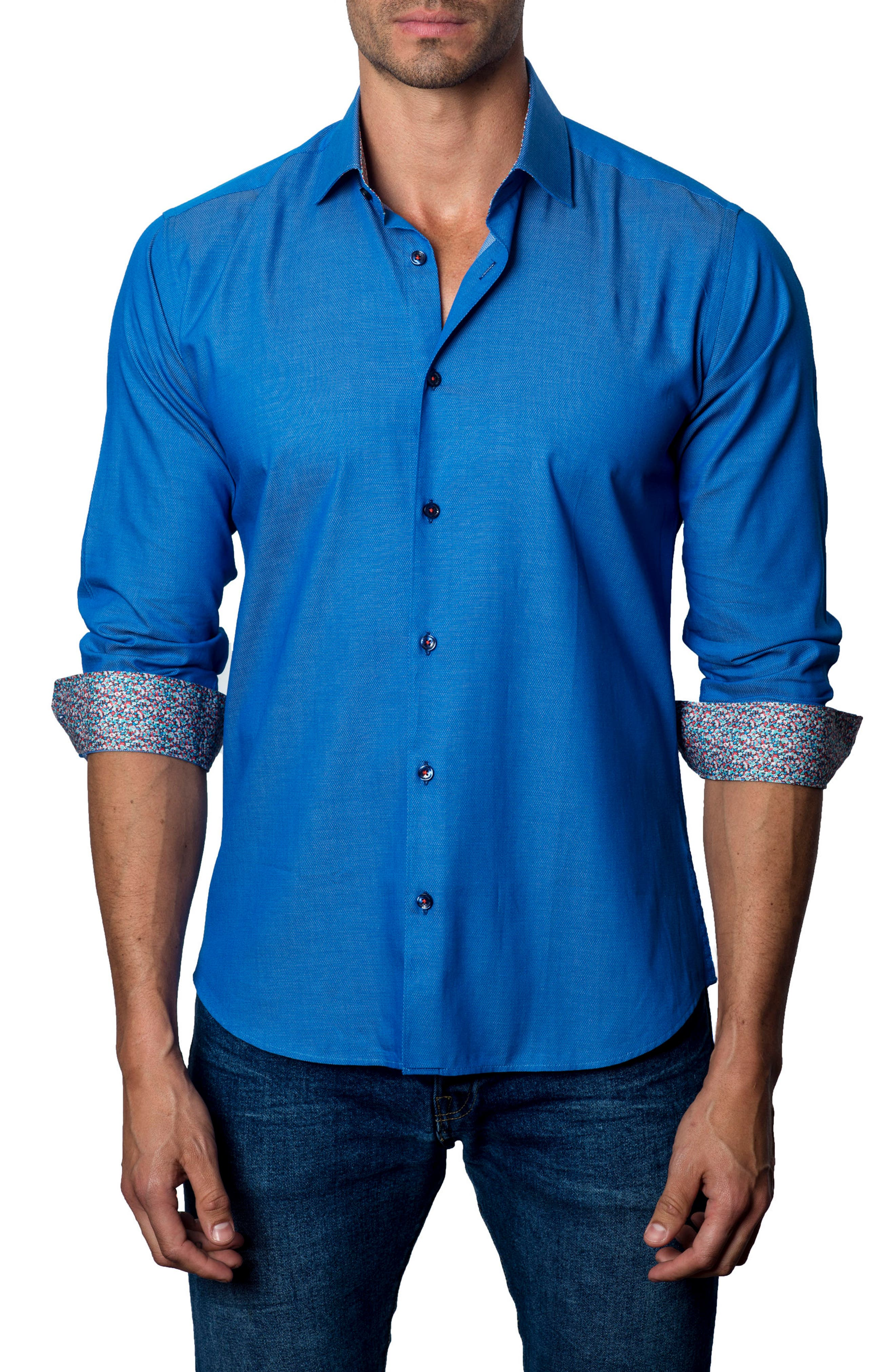 Trim Fit Sport Shirt,                         Main,                         color, Dark Blue