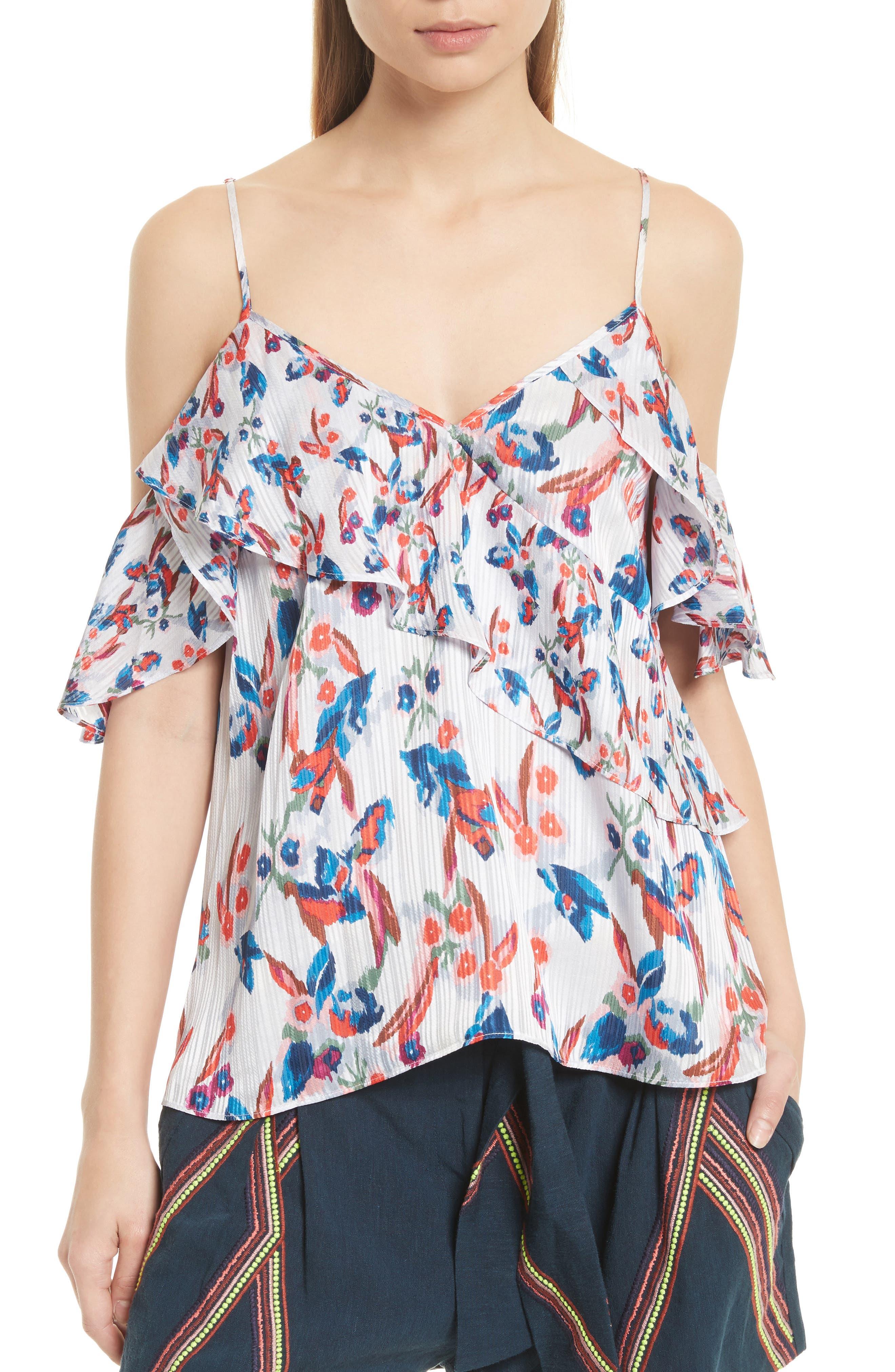 Tanya Taylor Chiara Floral Ikat Cold Shoulder Silk Top