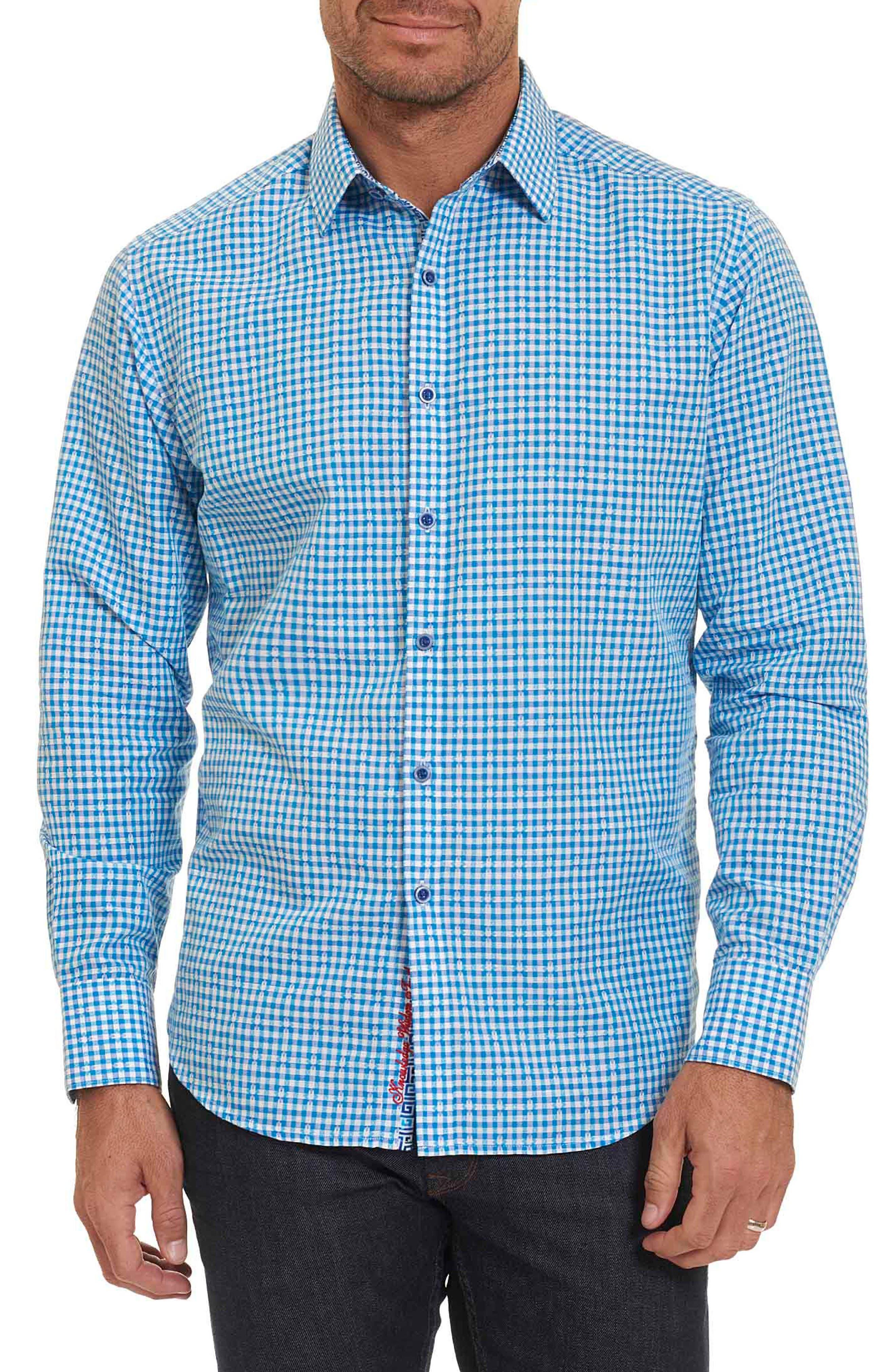 La Monica Classic Fit Gingham Linen & Cotton Sport Shirt,                         Main,                         color, Blue