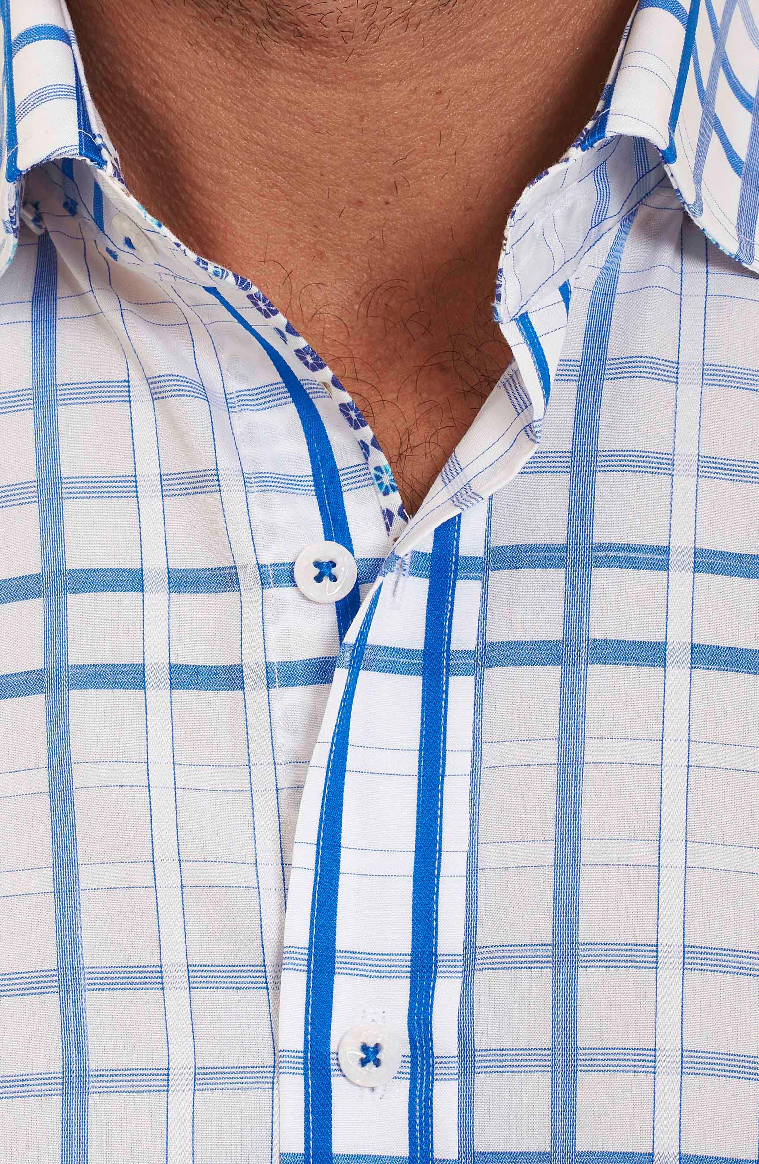 Dax Tailored Fit Check Short Sleeve Linen Sport Shirt,                             Alternate thumbnail 3, color,                             Blue
