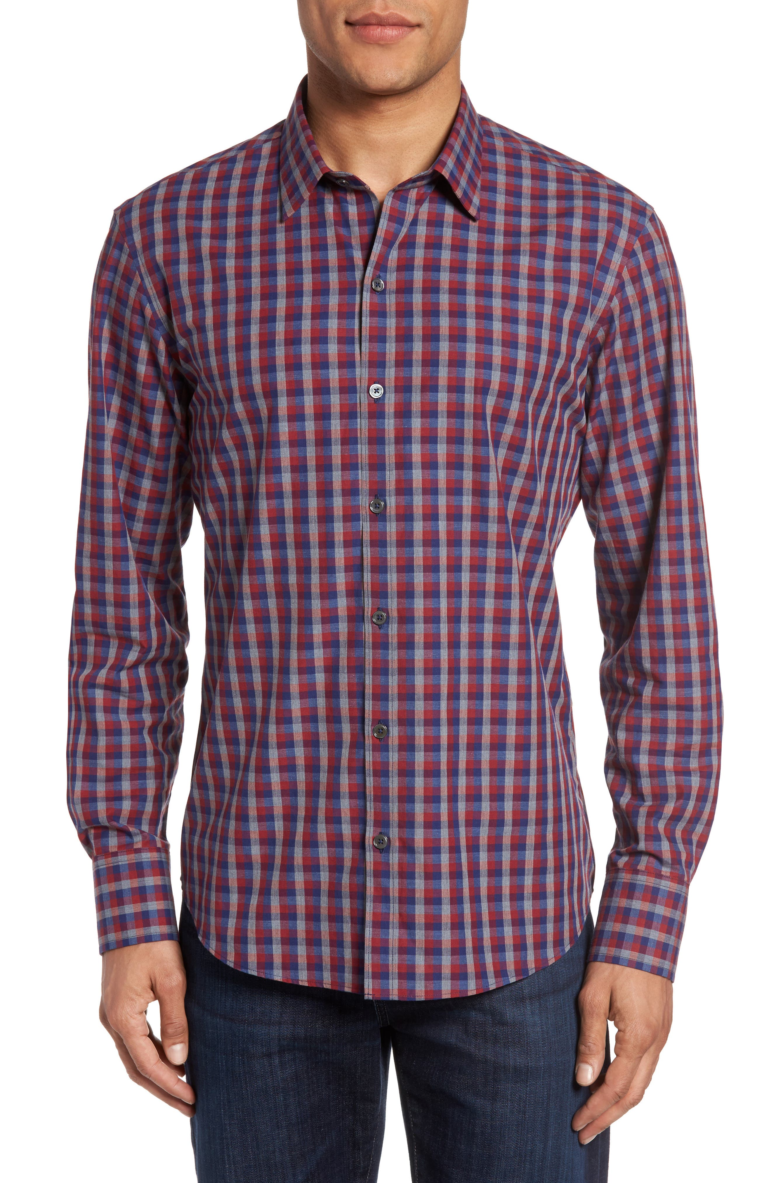 Zachary Prell Check Long Sleeve Sport Shirt
