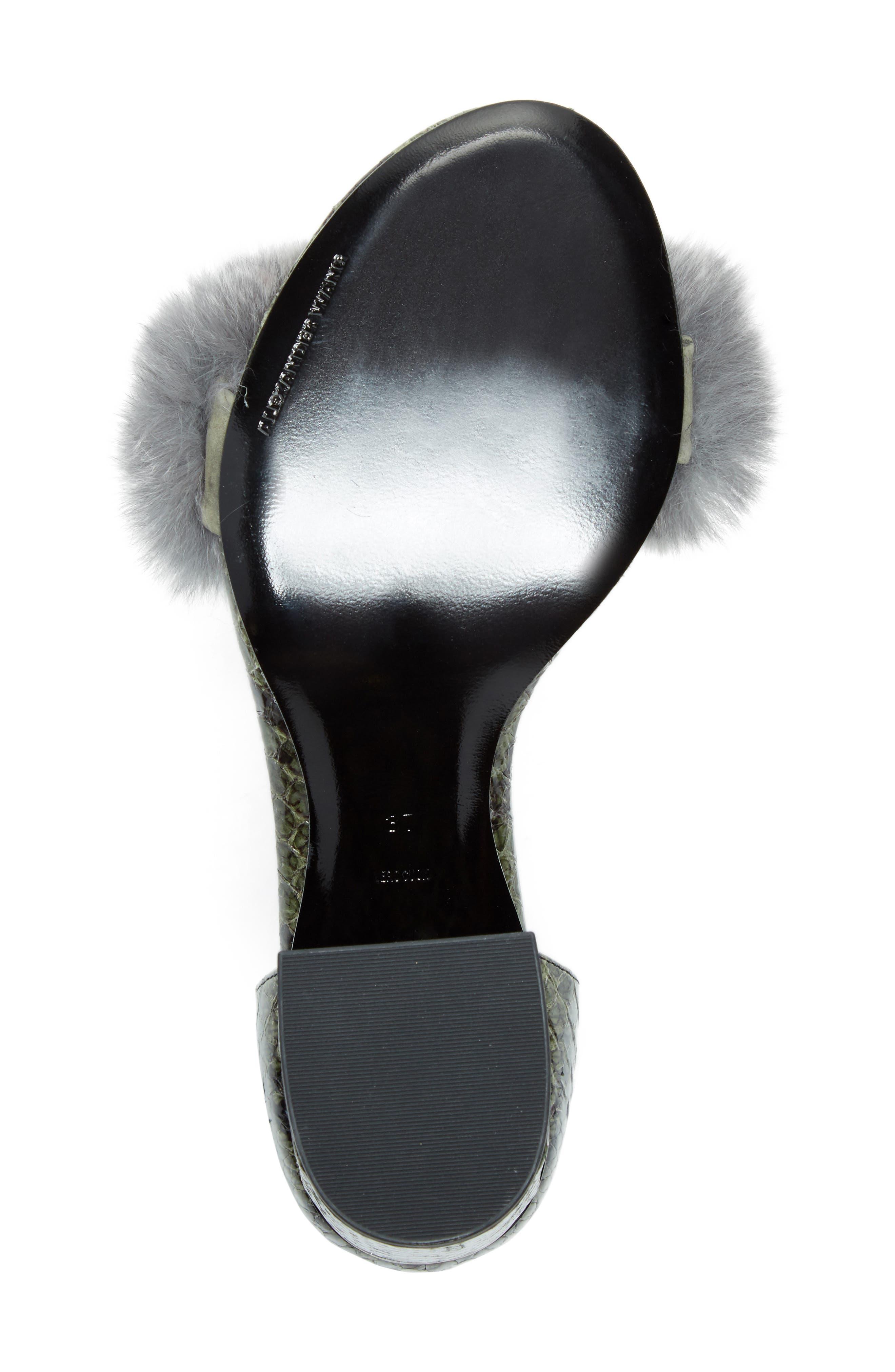 Abby Genuine Rabbit Fur & Snakeskin Sandal,                             Alternate thumbnail 6, color,                             Army