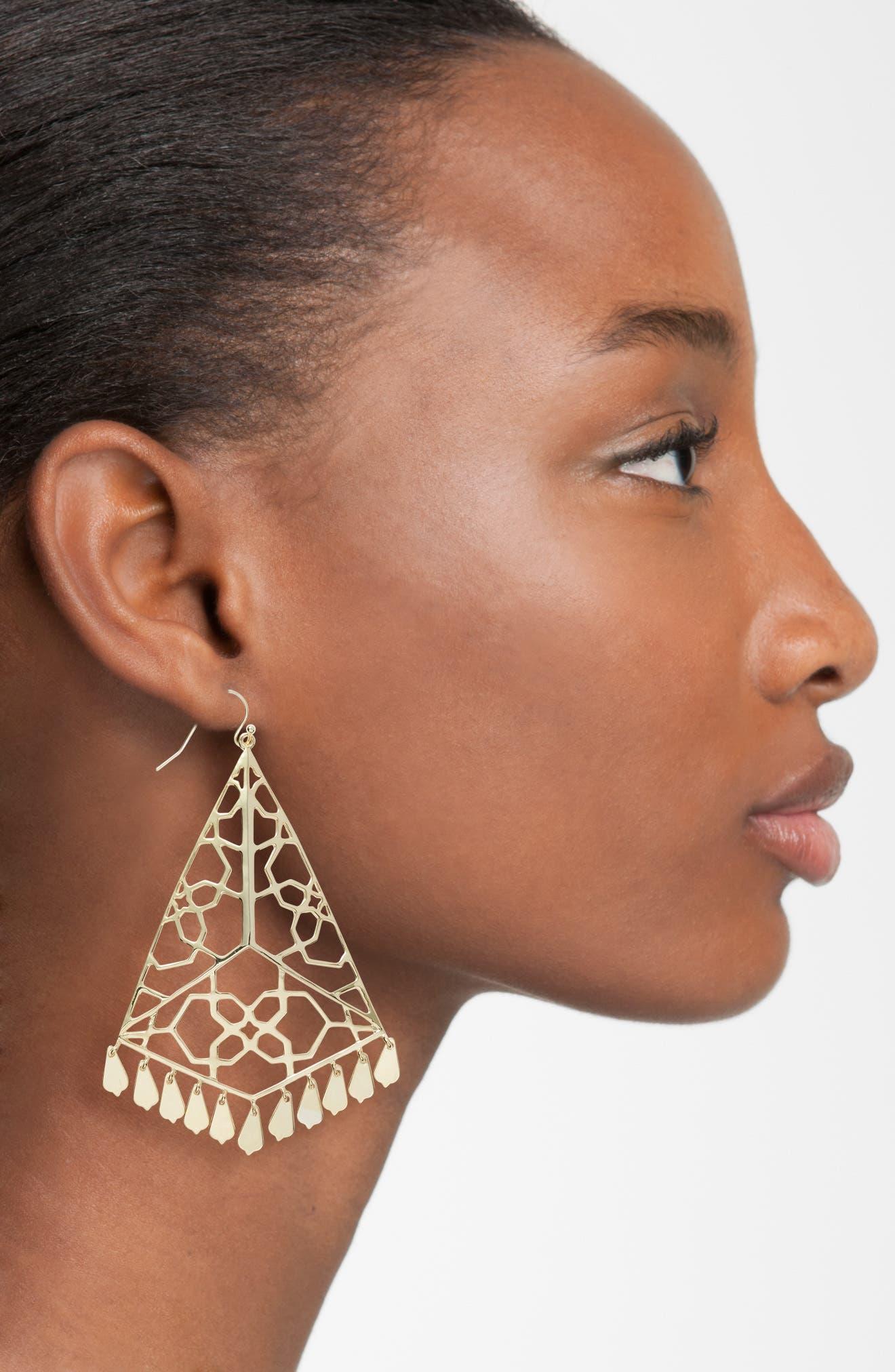Samira Drop Earrings,                             Alternate thumbnail 2, color,                             Gold Metal