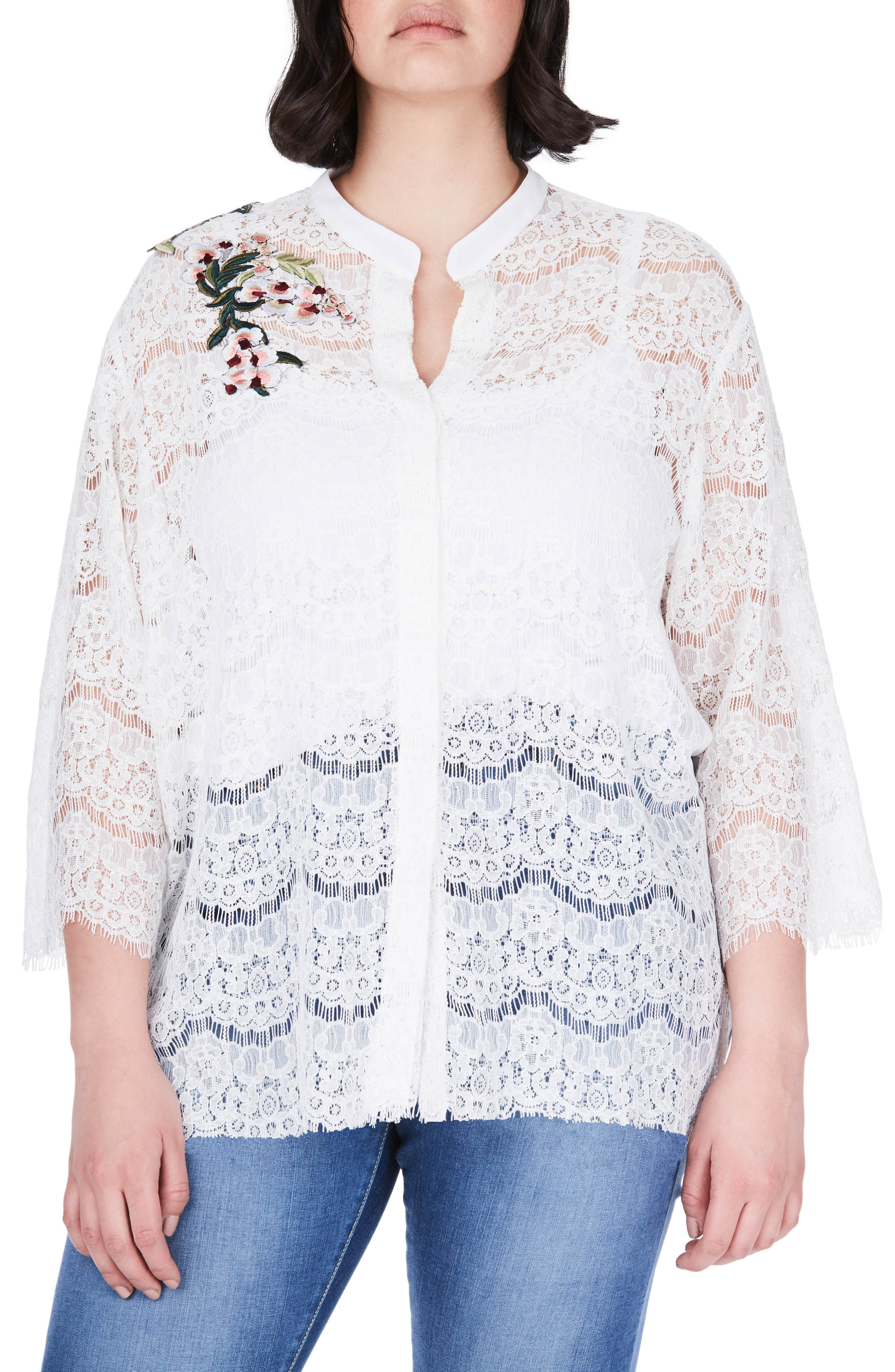 Main Image - ELVI Floral Embroidered Lace Top (Plus Size)