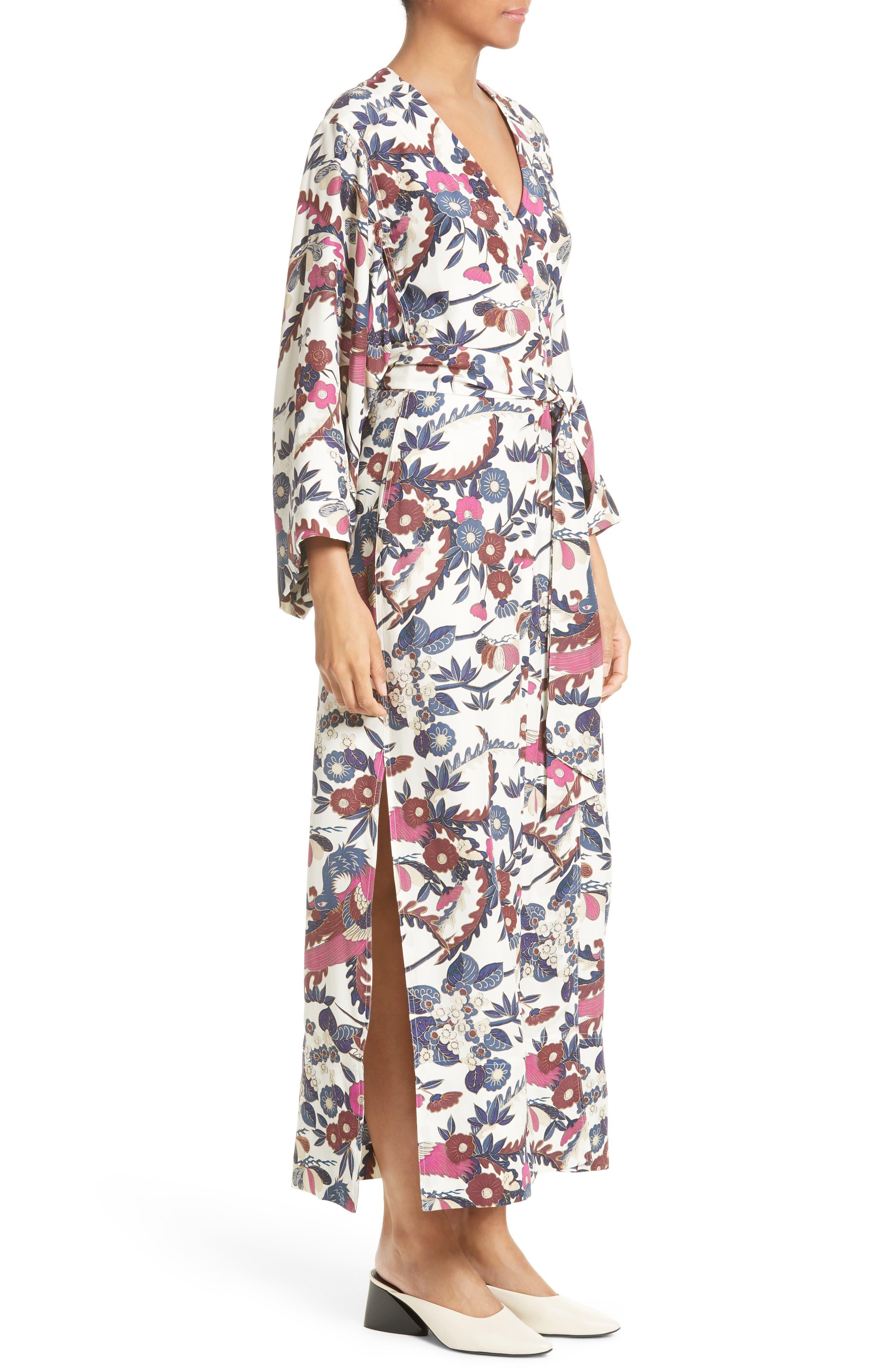 Howe Kimono Wrap Dress,                             Alternate thumbnail 3, color,                             Ivory