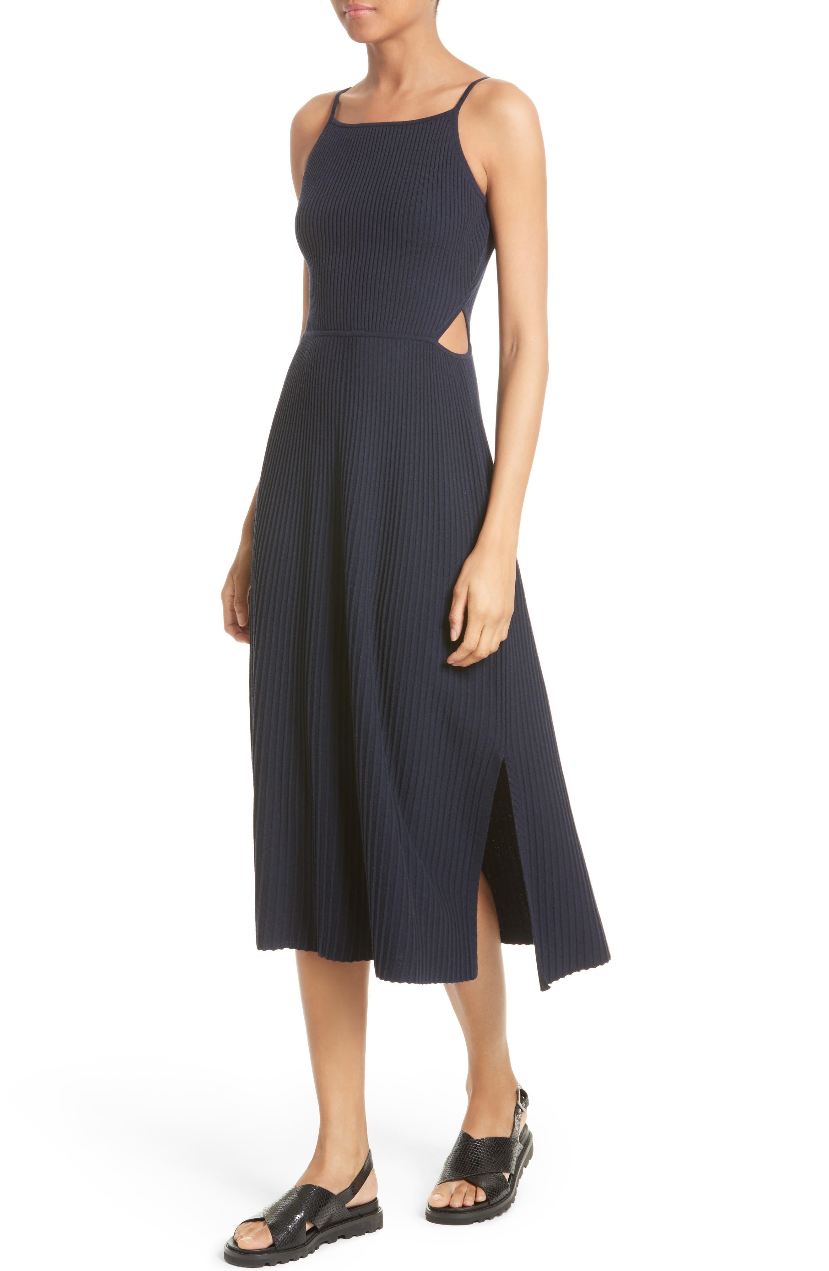 Josette Merino Wool Blend Apron Dress,                             Alternate thumbnail 4, color,                             Navy