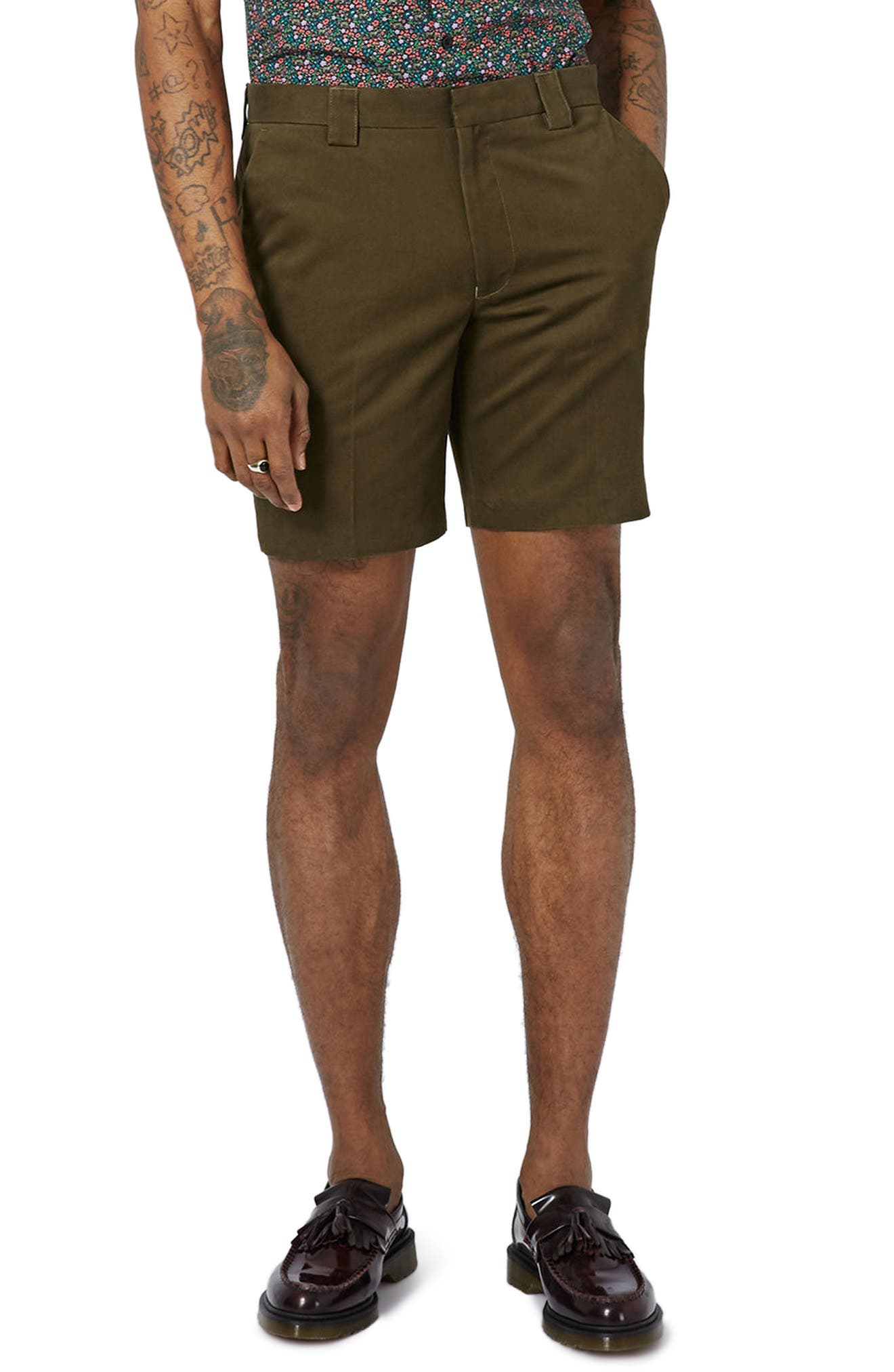 Twill Trouser Shorts,                             Main thumbnail 1, color,                             Olive