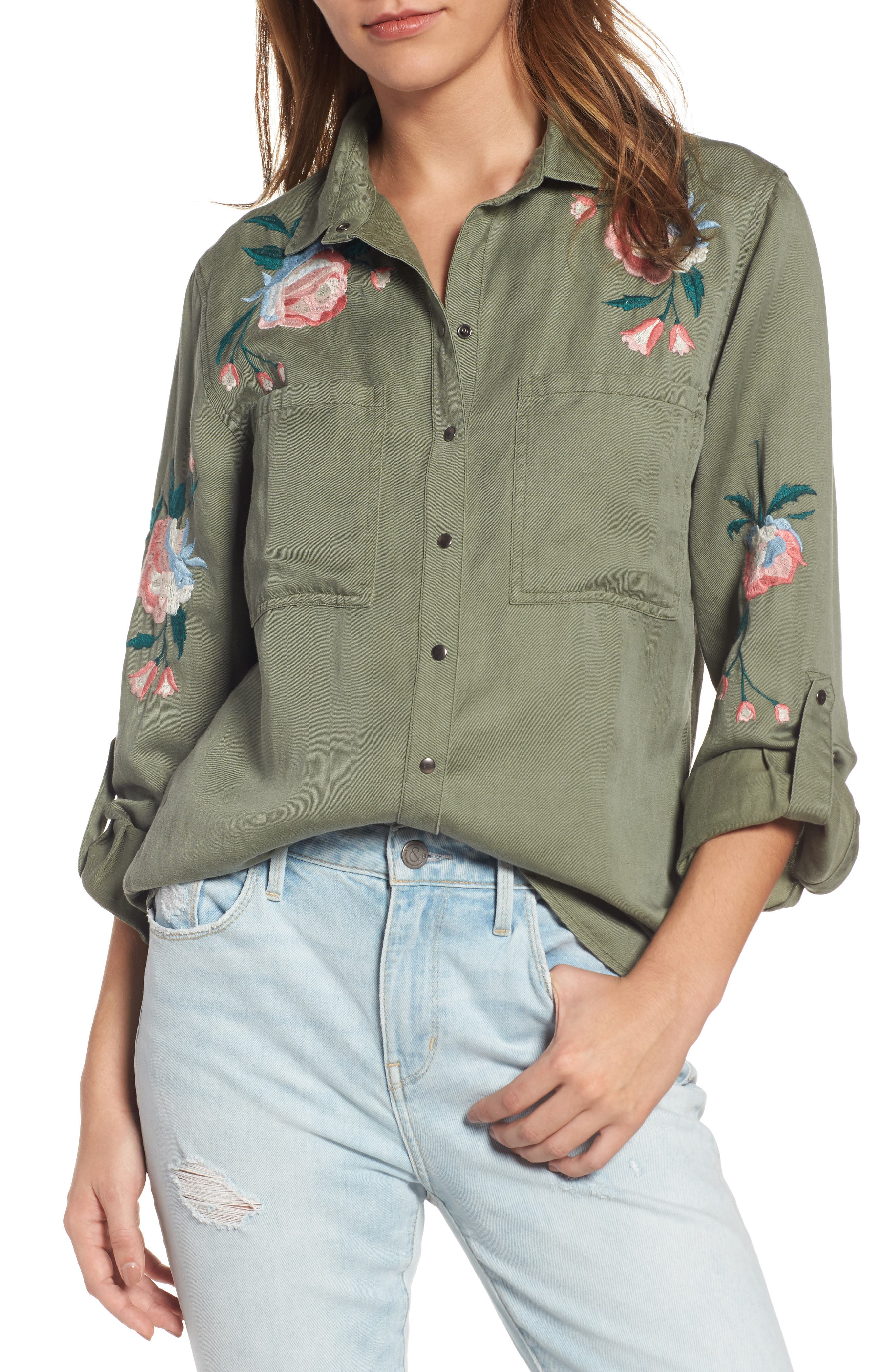 Channing Embroidered Military Shirt,                         Main,                         color, Sage Floral
