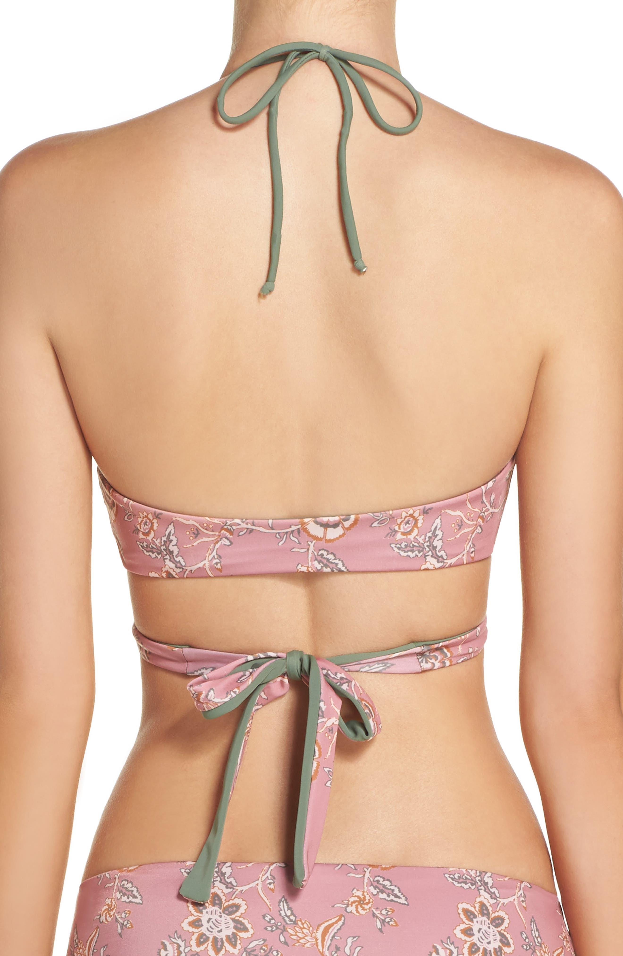 Reversible Wrap Bikini Top,                             Alternate thumbnail 3, color,                             Pink Compact Floral Print