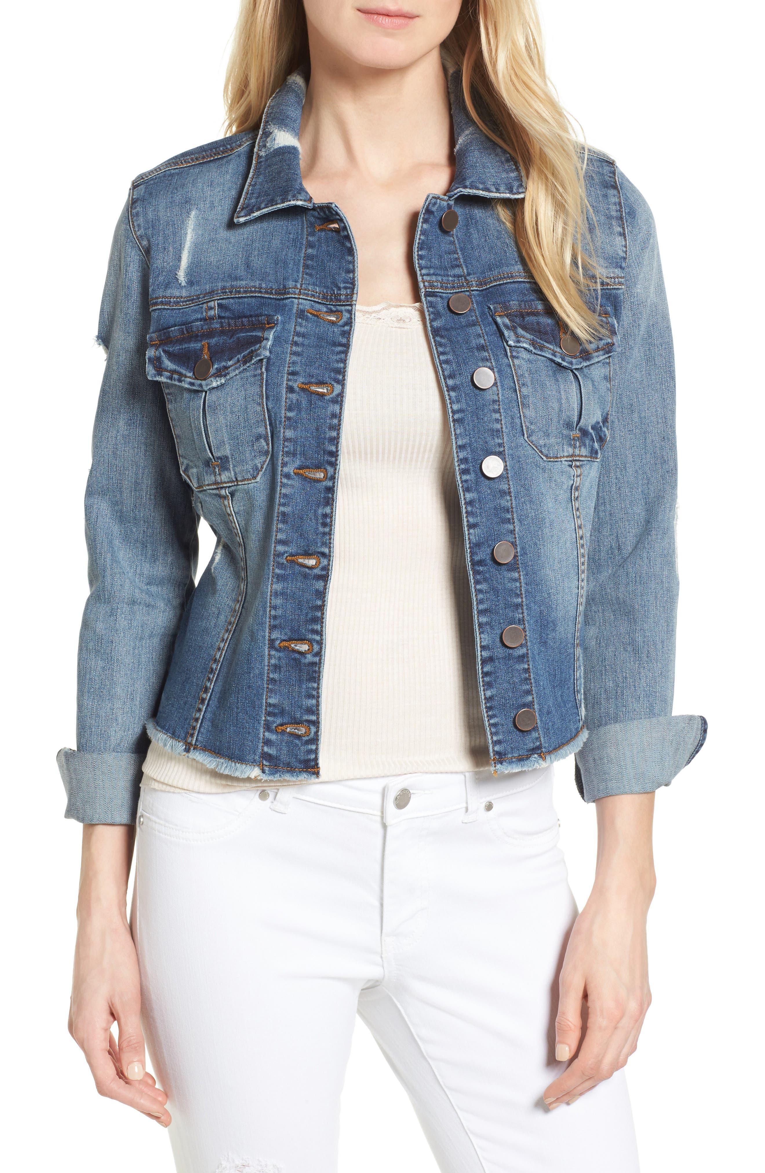 Kara Ripped Denim Jacket,                         Main,                         color, Astral