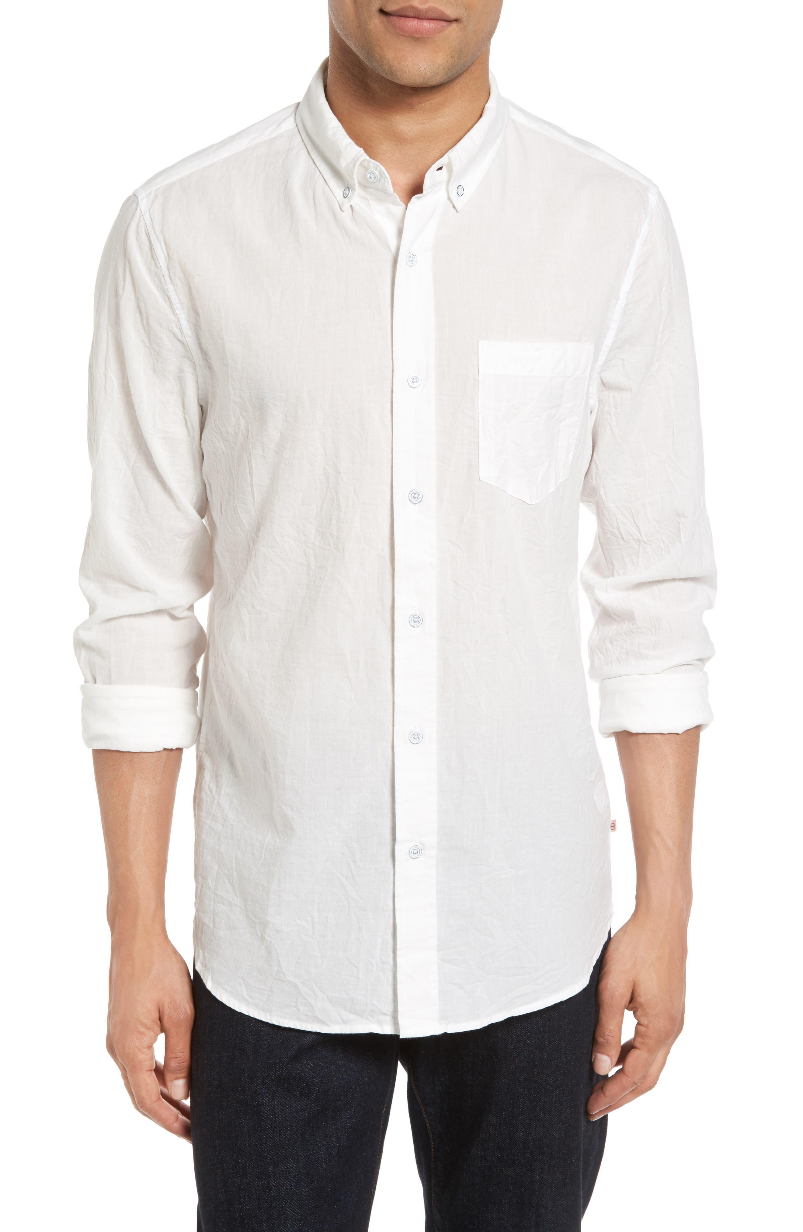 Grady Slim Fit Organic Cotton Sport Shirt,                         Main,                         color, Crinkled True White