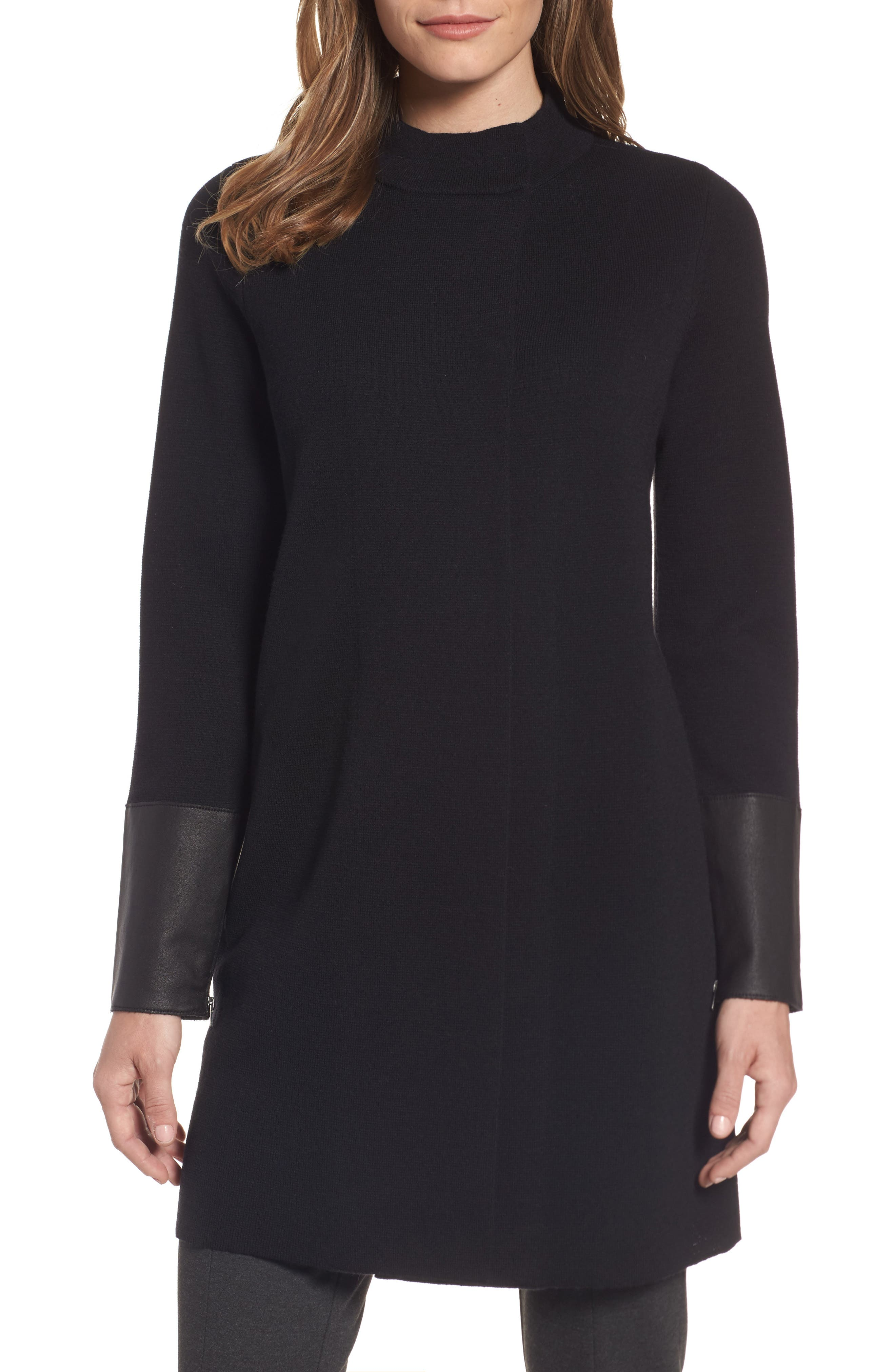 EILEEN FISHER Leather Detail Wool Sweater Coat