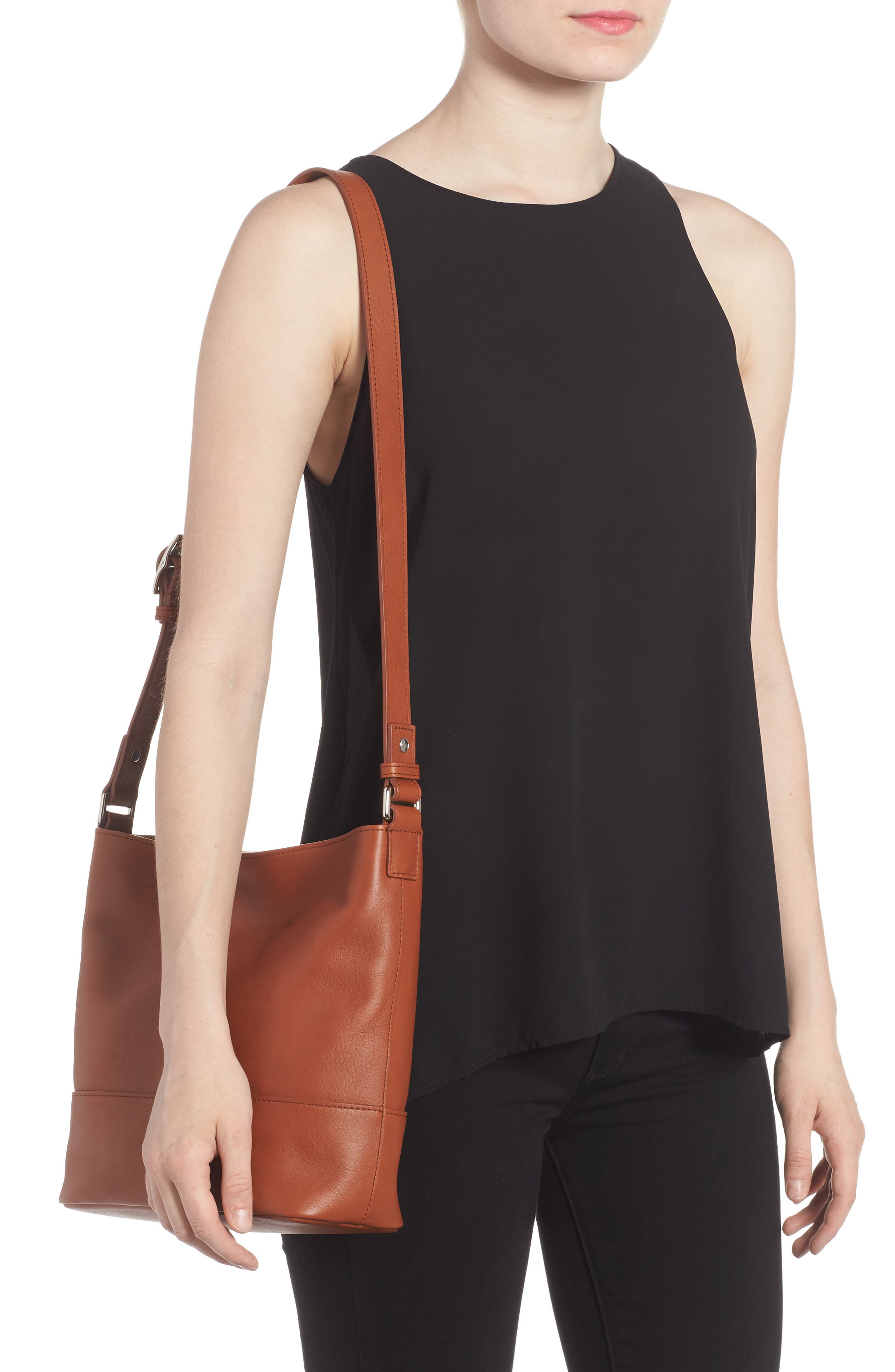 Small Relaxed Leather Hobo Bag,                             Alternate thumbnail 2, color,                             Bourbon