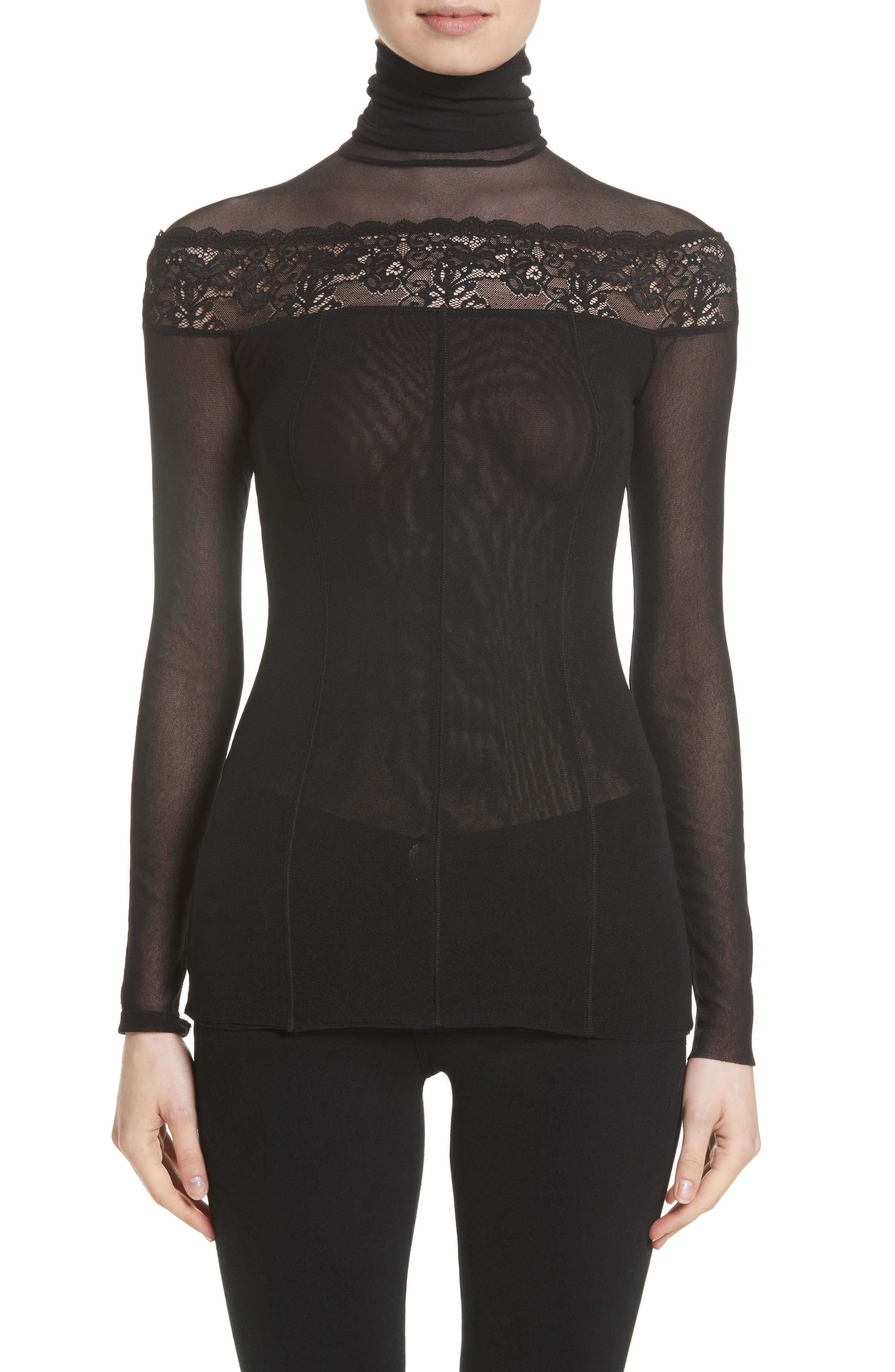 Fuzzi Sheer Lace Trim Tulle Turtleneck (Nordstrom Exclusive)