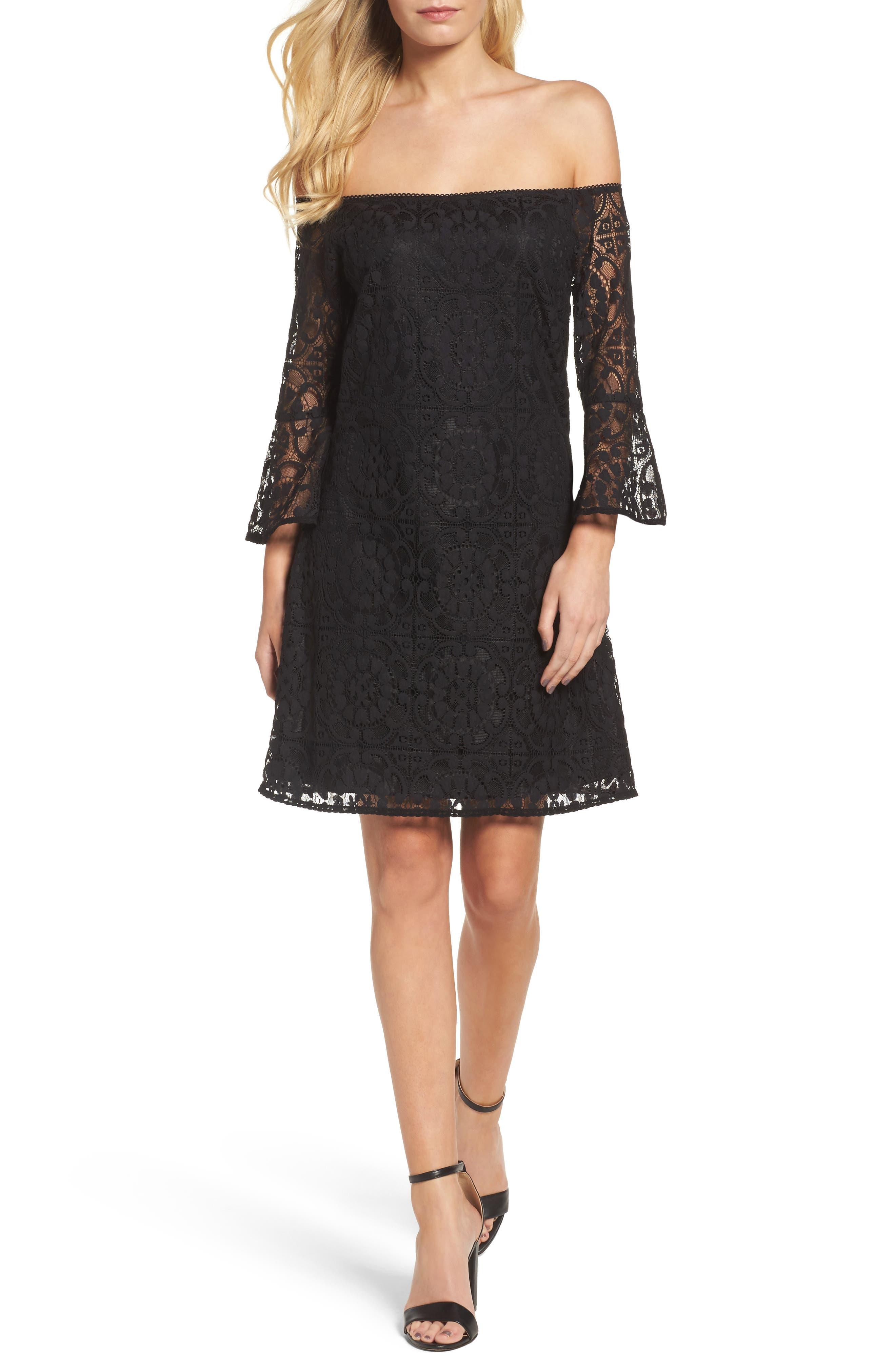 Lace A-Line Dress,                         Main,                         color, Black