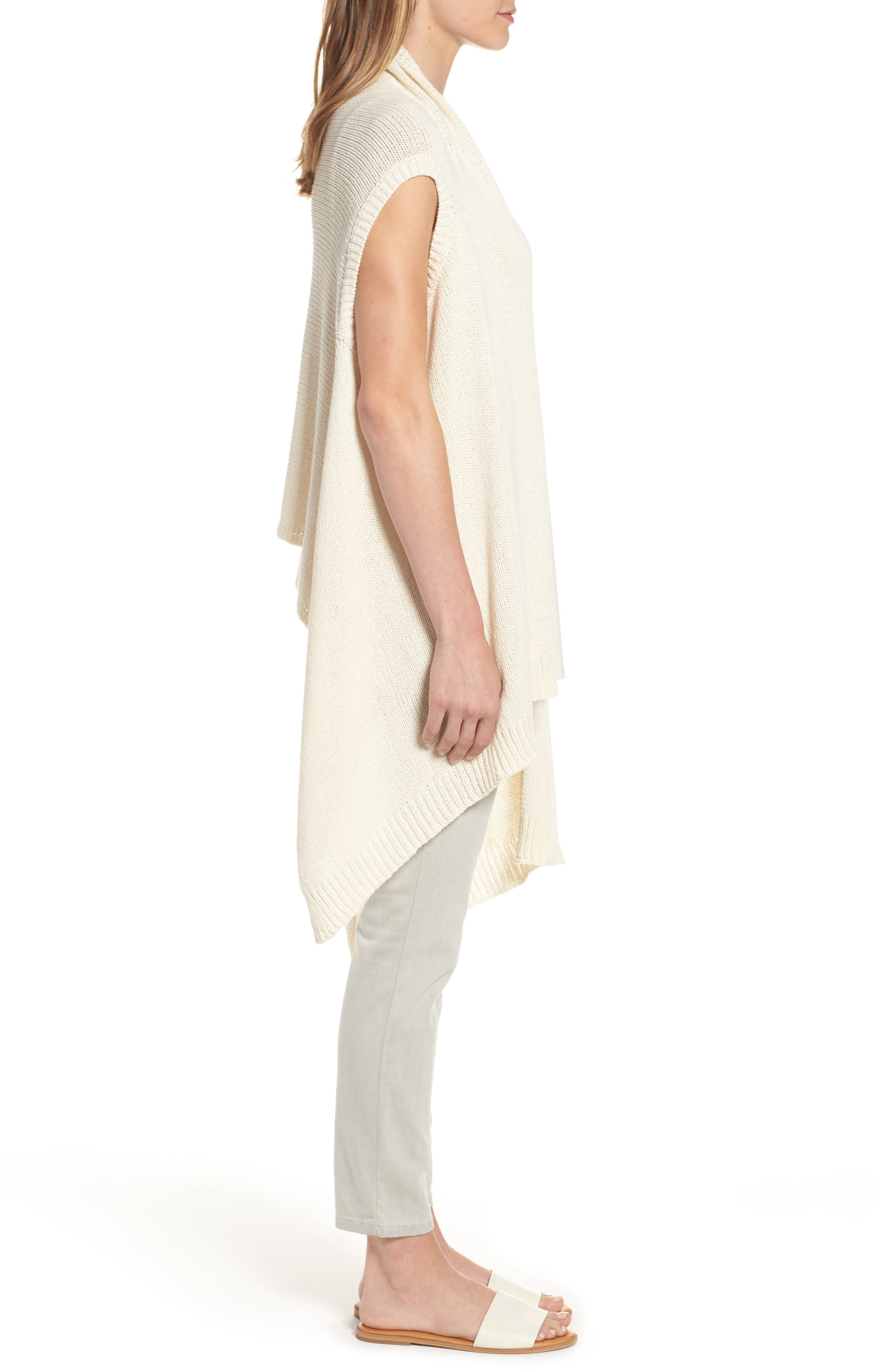 Alternate Image 3  - Eileen Fisher Cotton Blend Knit Asymmetrical Wrap (Regular & Petite)