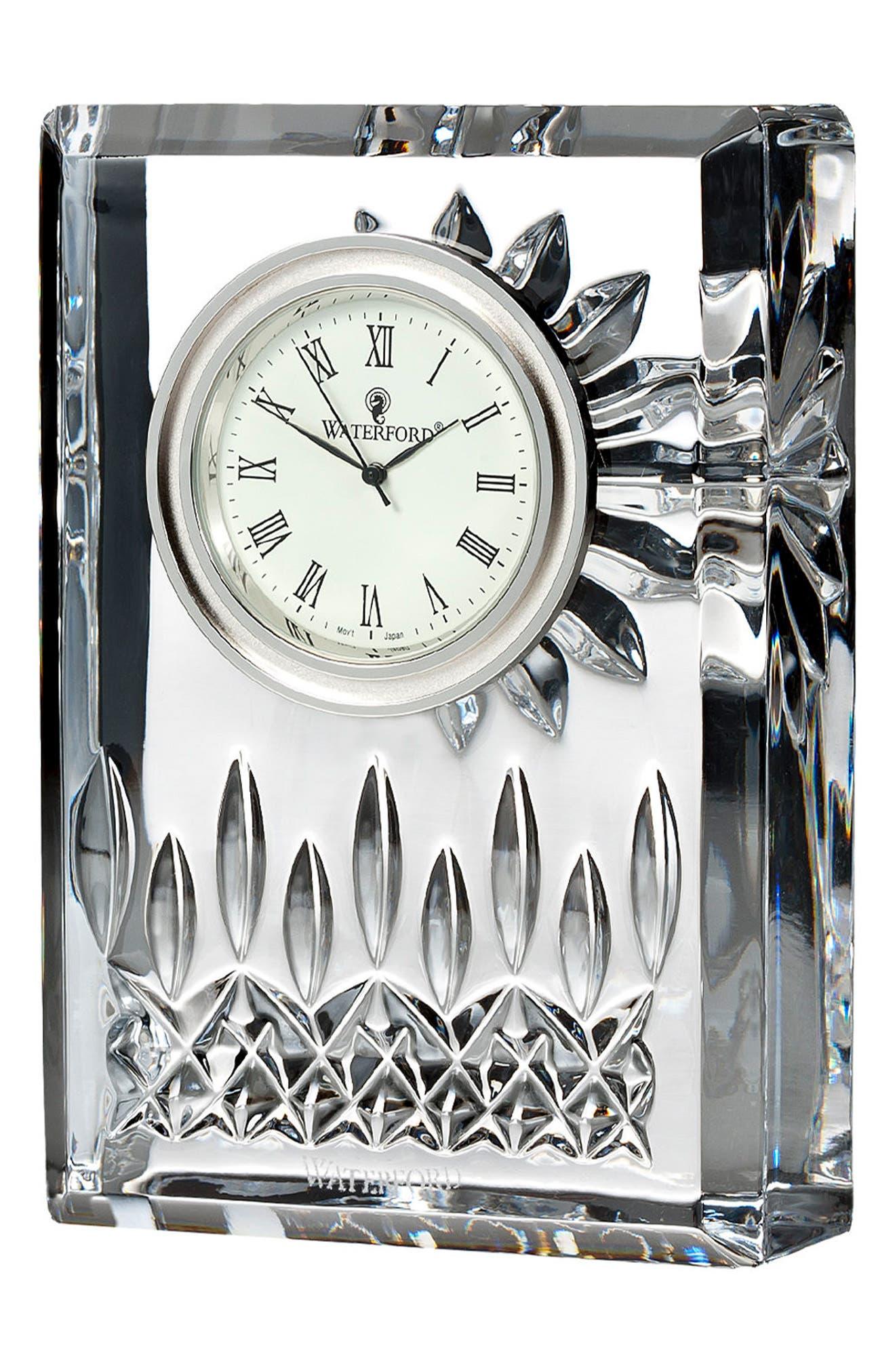 Lismore Lead Crystal Clock,                             Main thumbnail 1, color,                             Crystal