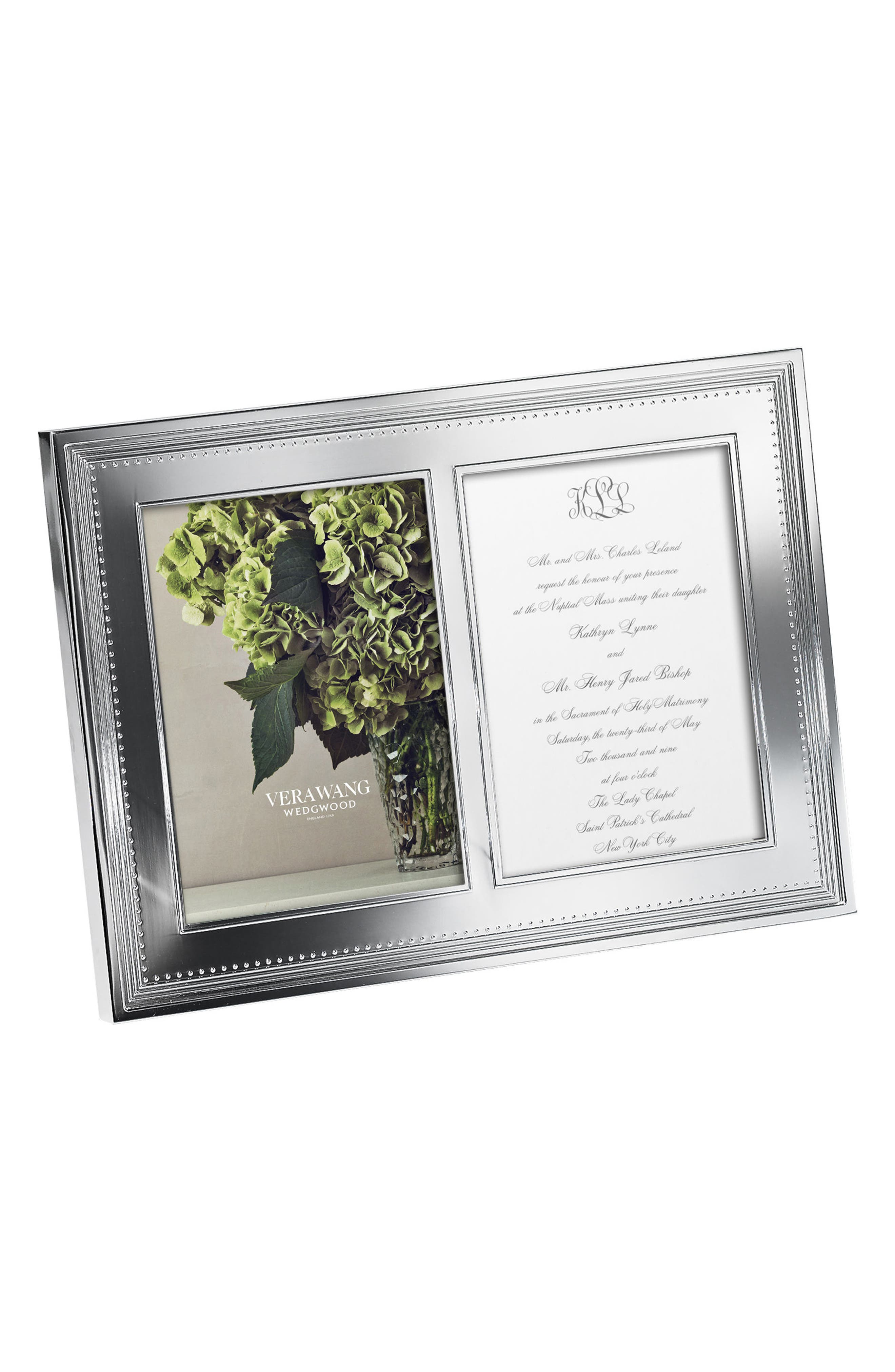 x Wedgwood Grosgrain Double Picture Frame,                         Main,                         color, Metallic Silver