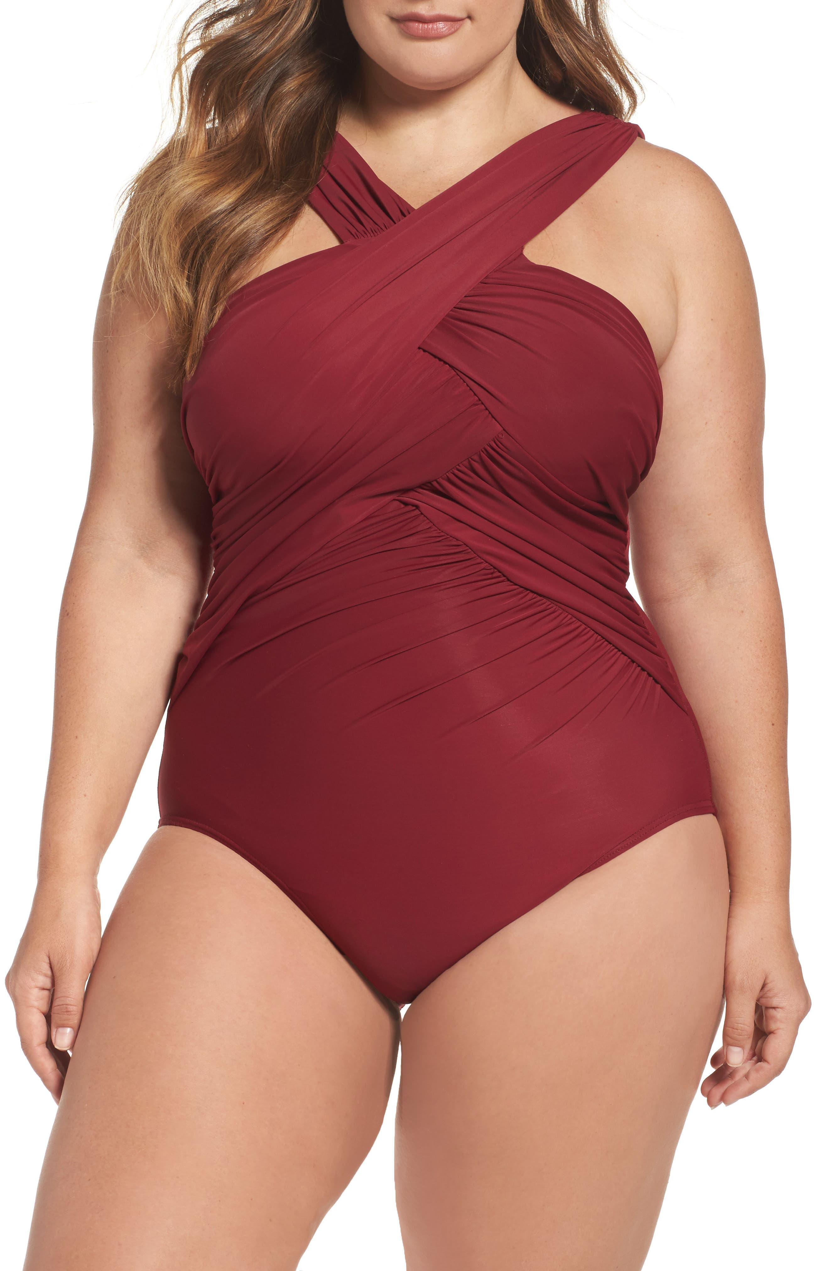 High Neck One-Piece Swimsuit,                             Main thumbnail 1, color,                             Pompeii Red