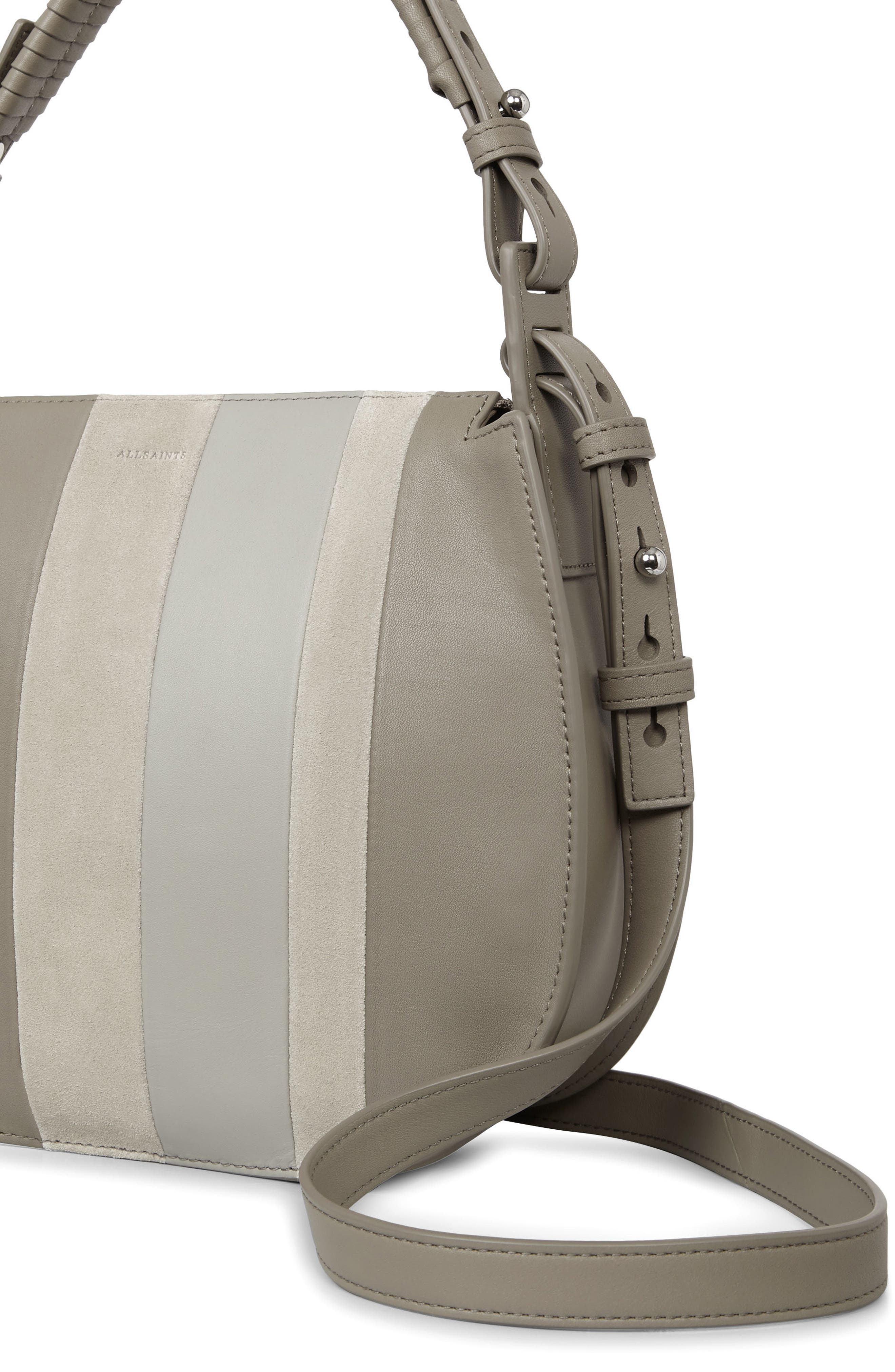 Casey Lea Calfskin Leather & Suede Hobo,                             Alternate thumbnail 3, color,                             Taupe Grey