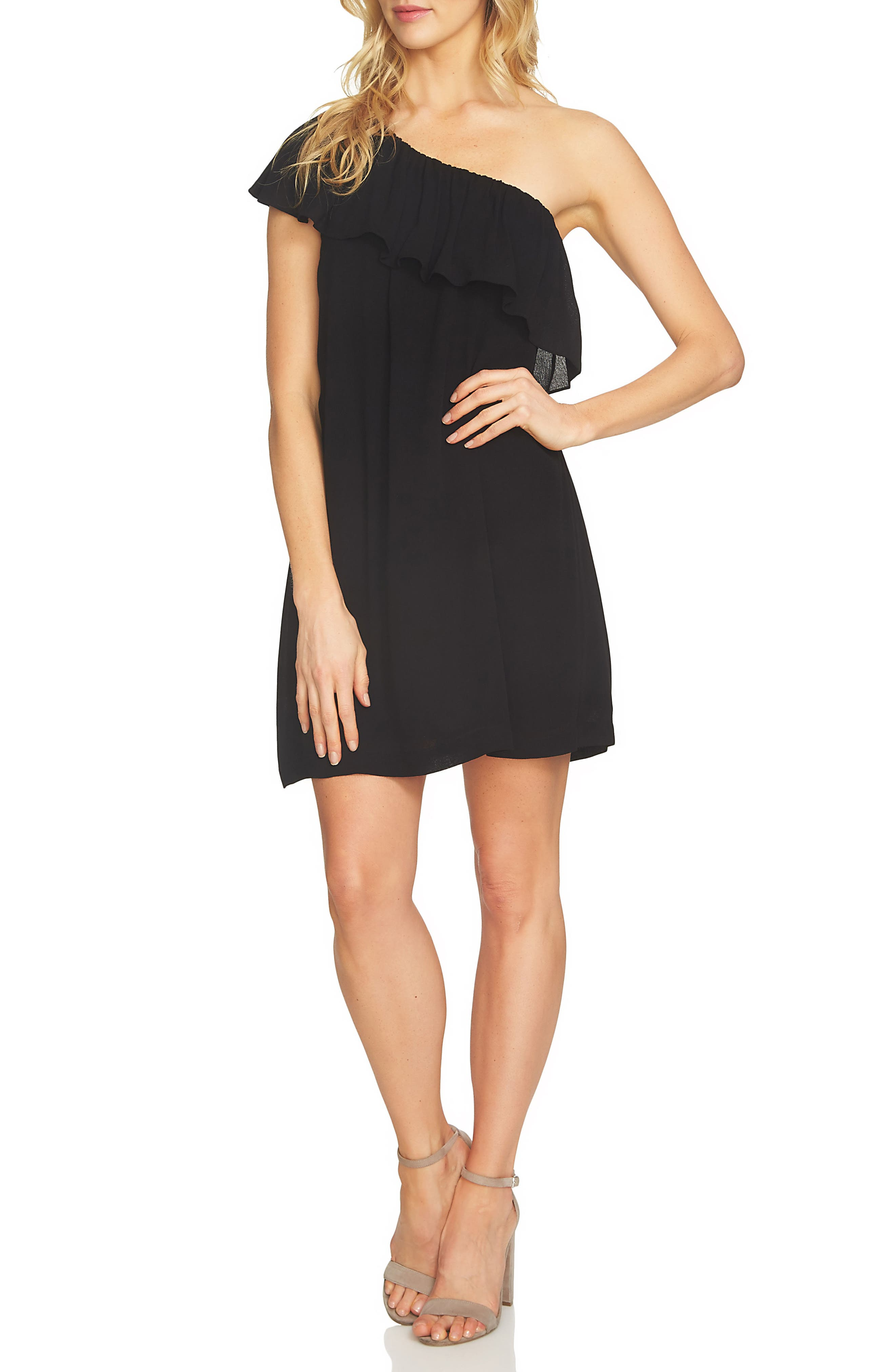 1.STATE Ruffle One-Shoulder Shift Dress