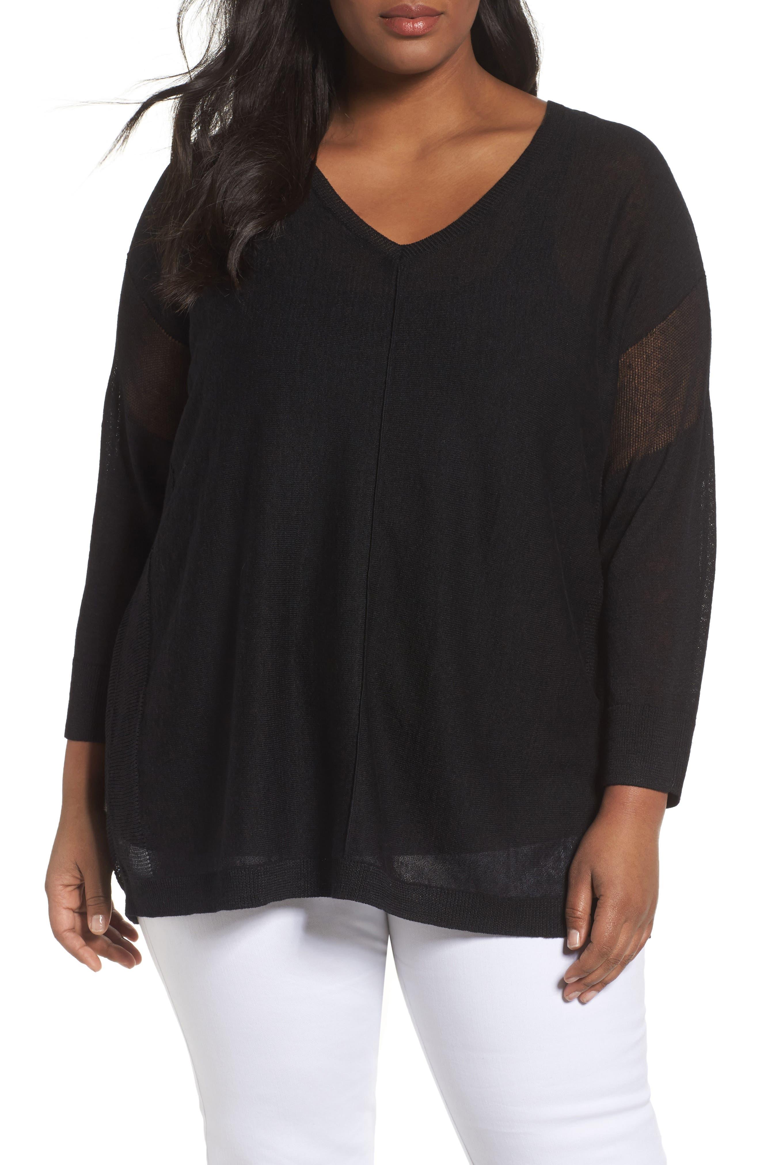 Main Image - Sejour Sheer Inset Linen Blend Tunic Top (Plus Size)