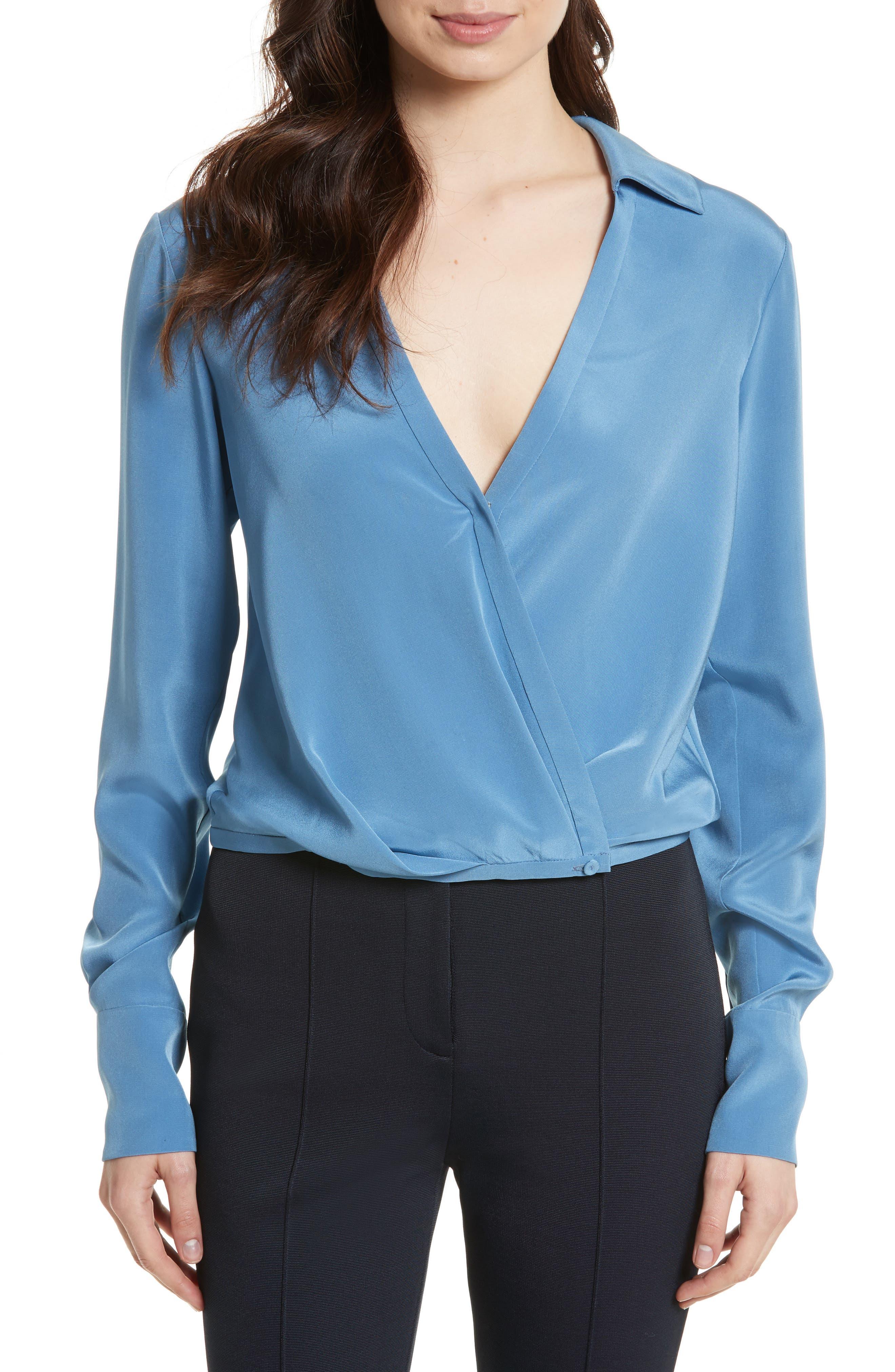 Diane von Furstenberg Collared Silk Wrap Front Blouse
