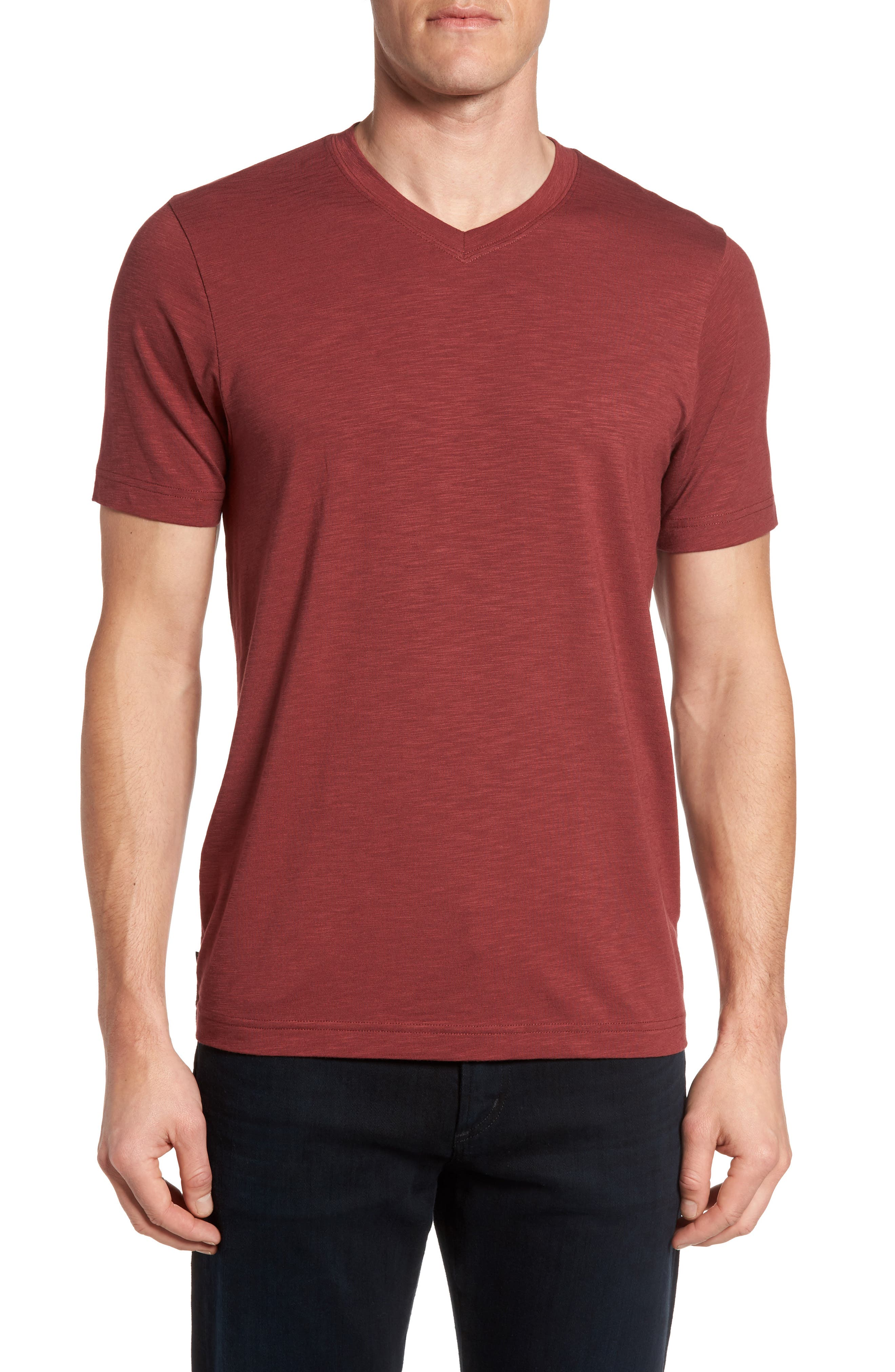 'Trumbull' Trim Fit Slubbed T-Shirt,                             Main thumbnail 1, color,                             Oxblood