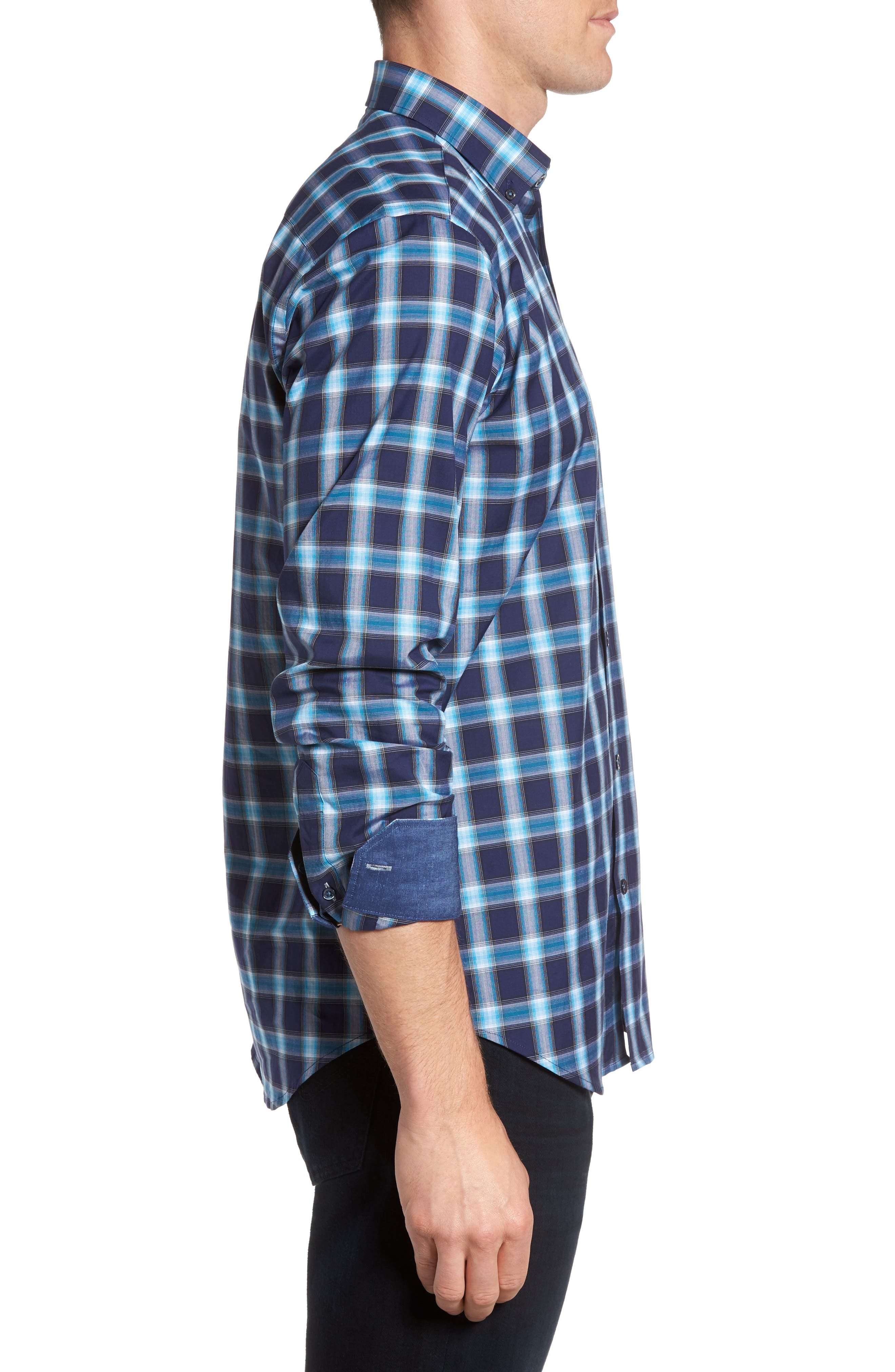 Alternate Image 3  - Bugatchi Shaped Fit Plaid Sport Shirt