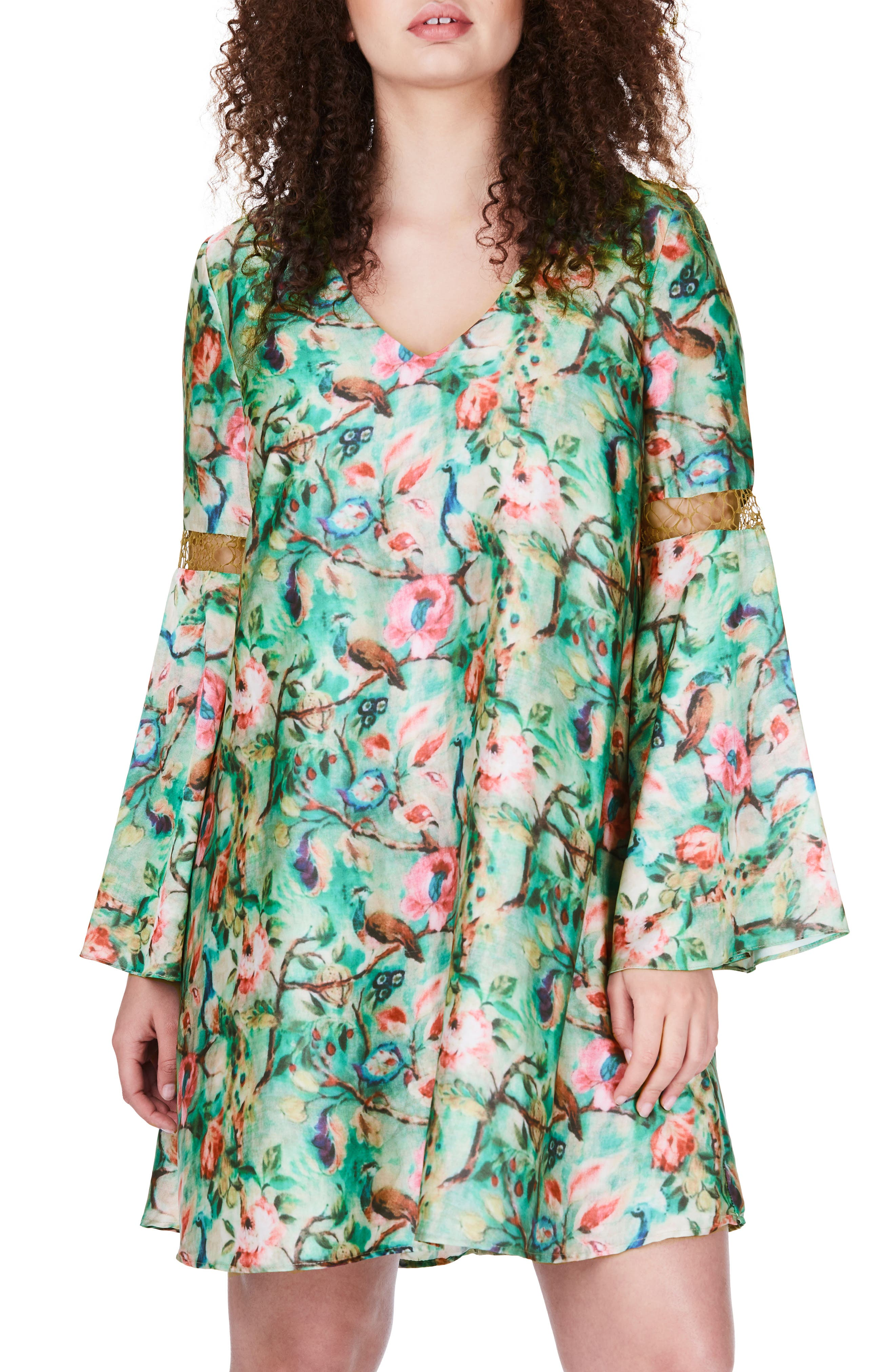 Bell Sleeve Floral Shift Dress,                         Main,                         color, Green