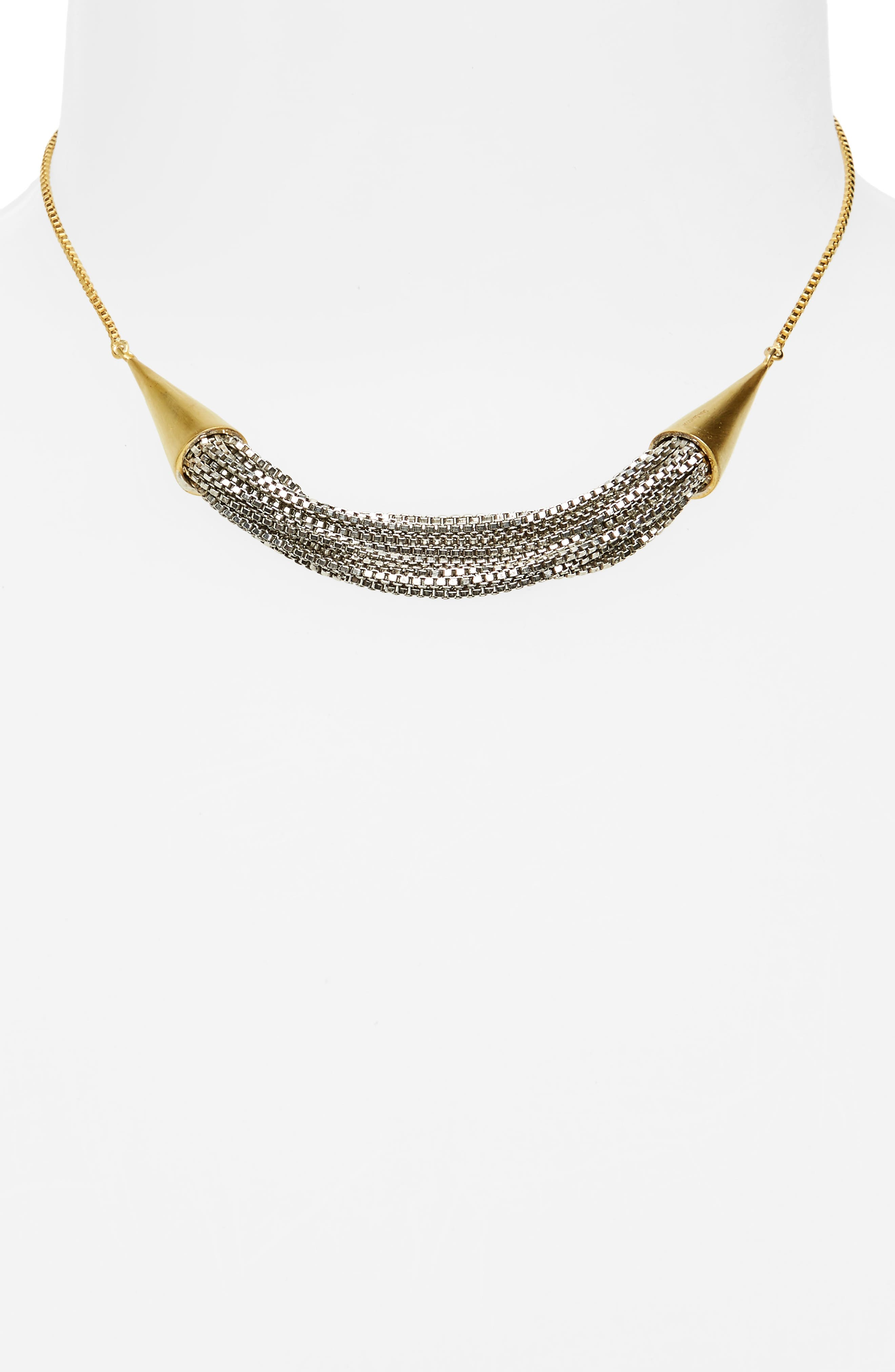 Liquid Chain Collar Necklace,                             Alternate thumbnail 2, color,                             Gold/ Silver