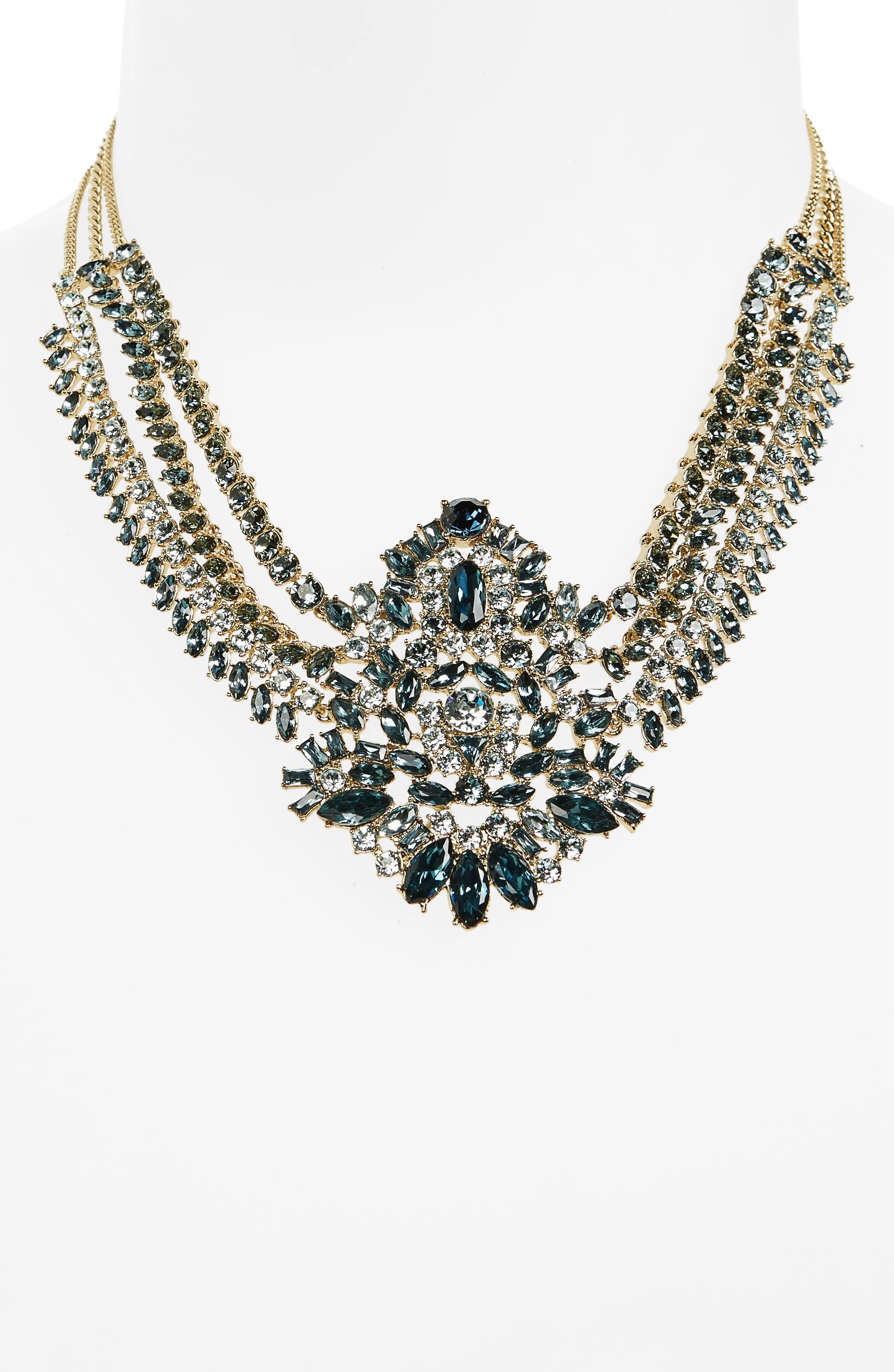 Phoenix Swag Collar Necklace,                             Alternate thumbnail 2, color,                             Blue / Gold