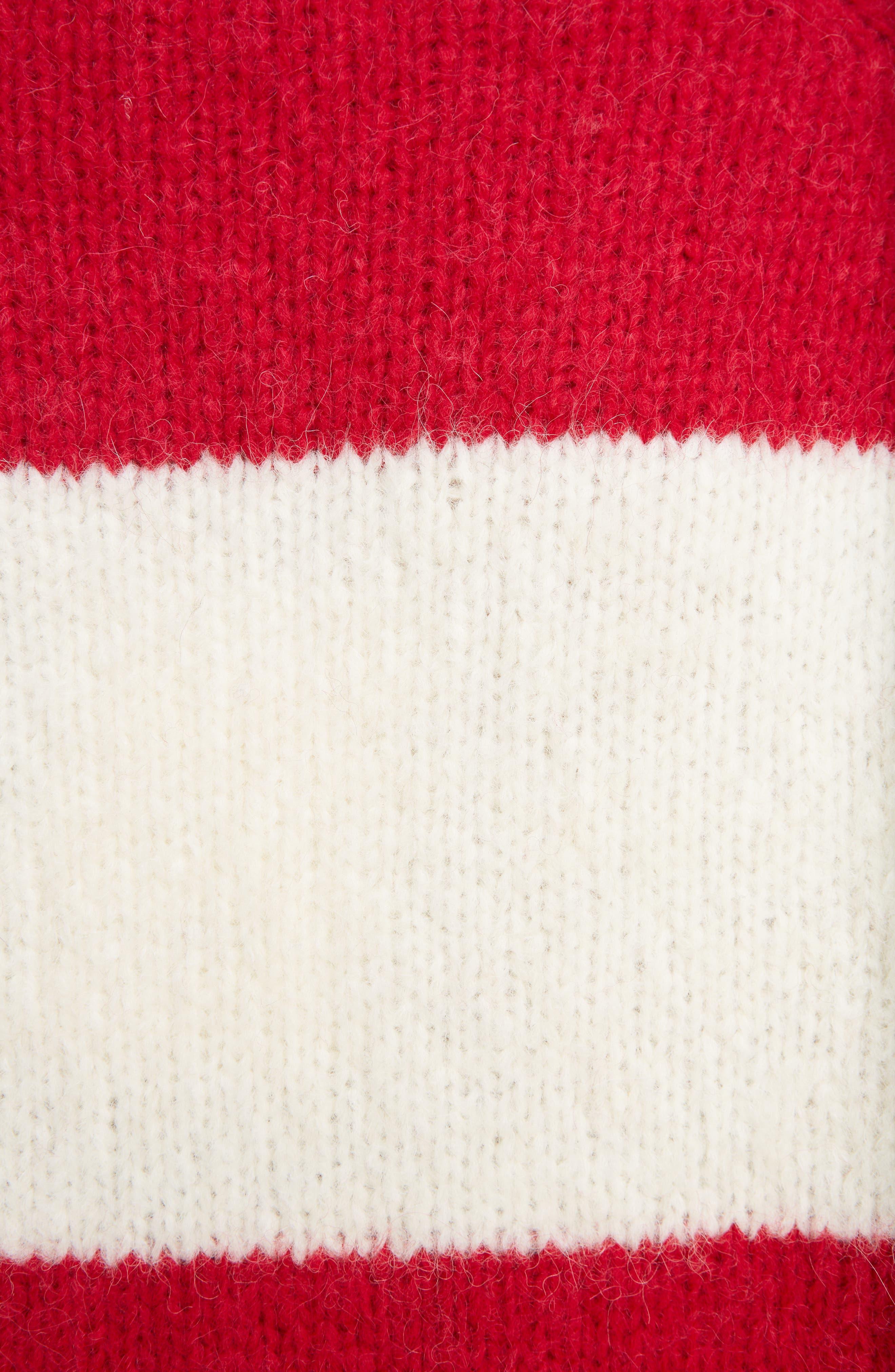 Albah Oversized Stripe Sweater,                             Alternate thumbnail 5, color,                             Red/ White