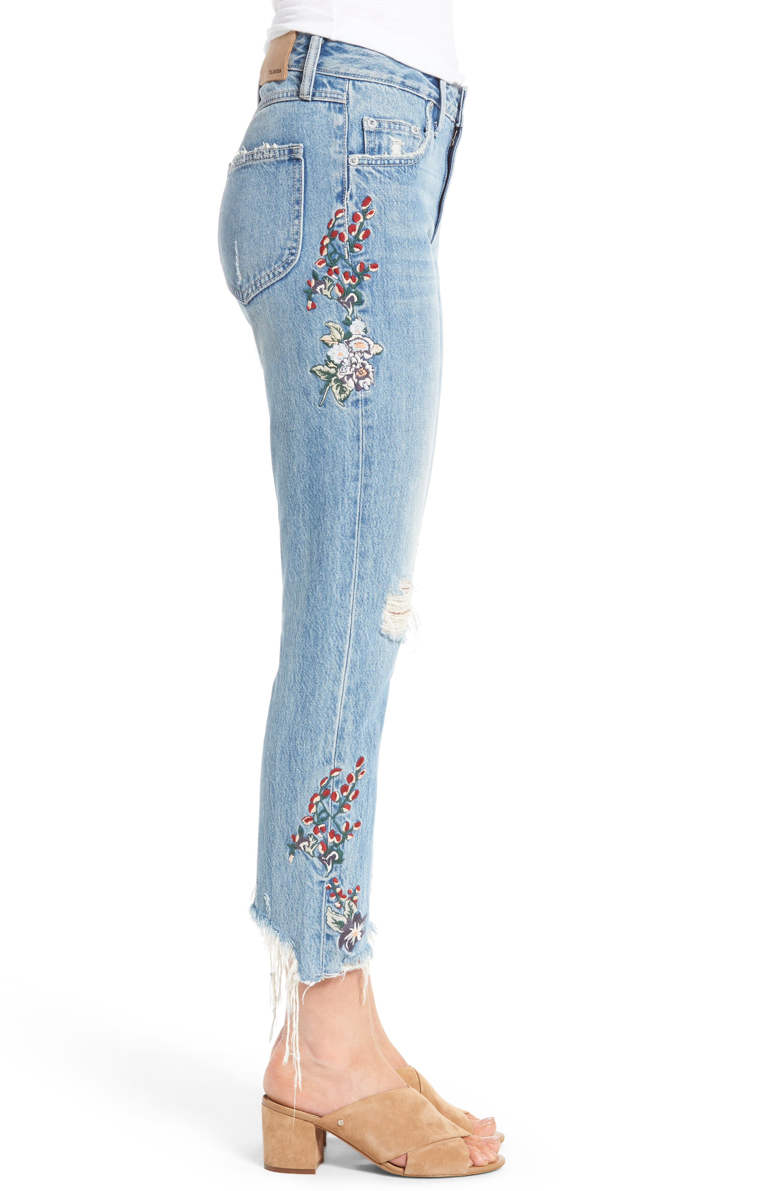 Hailey Embroidered Straight Leg Crop Jeans,                             Alternate thumbnail 4, color,                             Tala