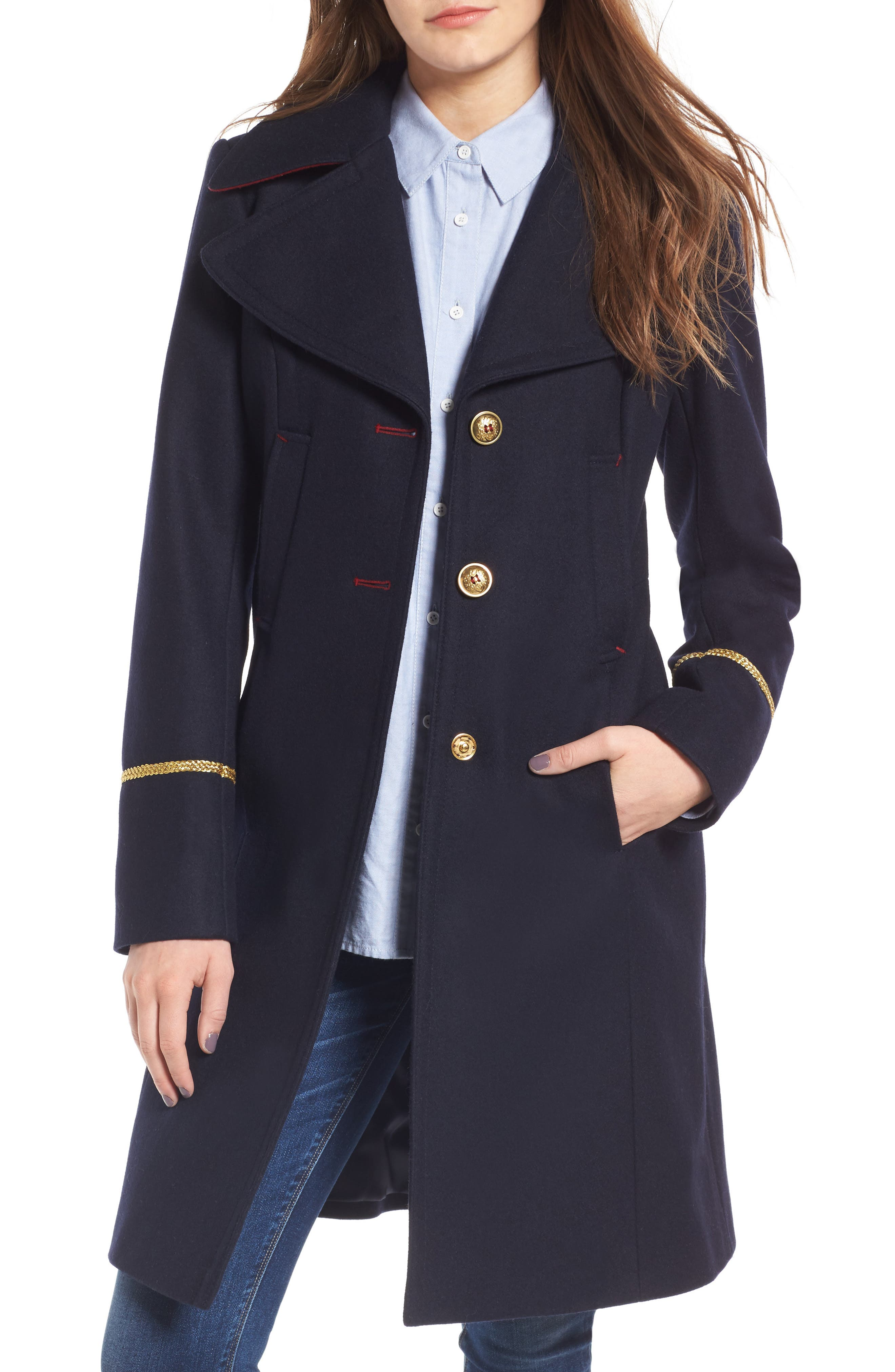 Wool Blend A-Line Military Coat,                         Main,                         color, New Midnight