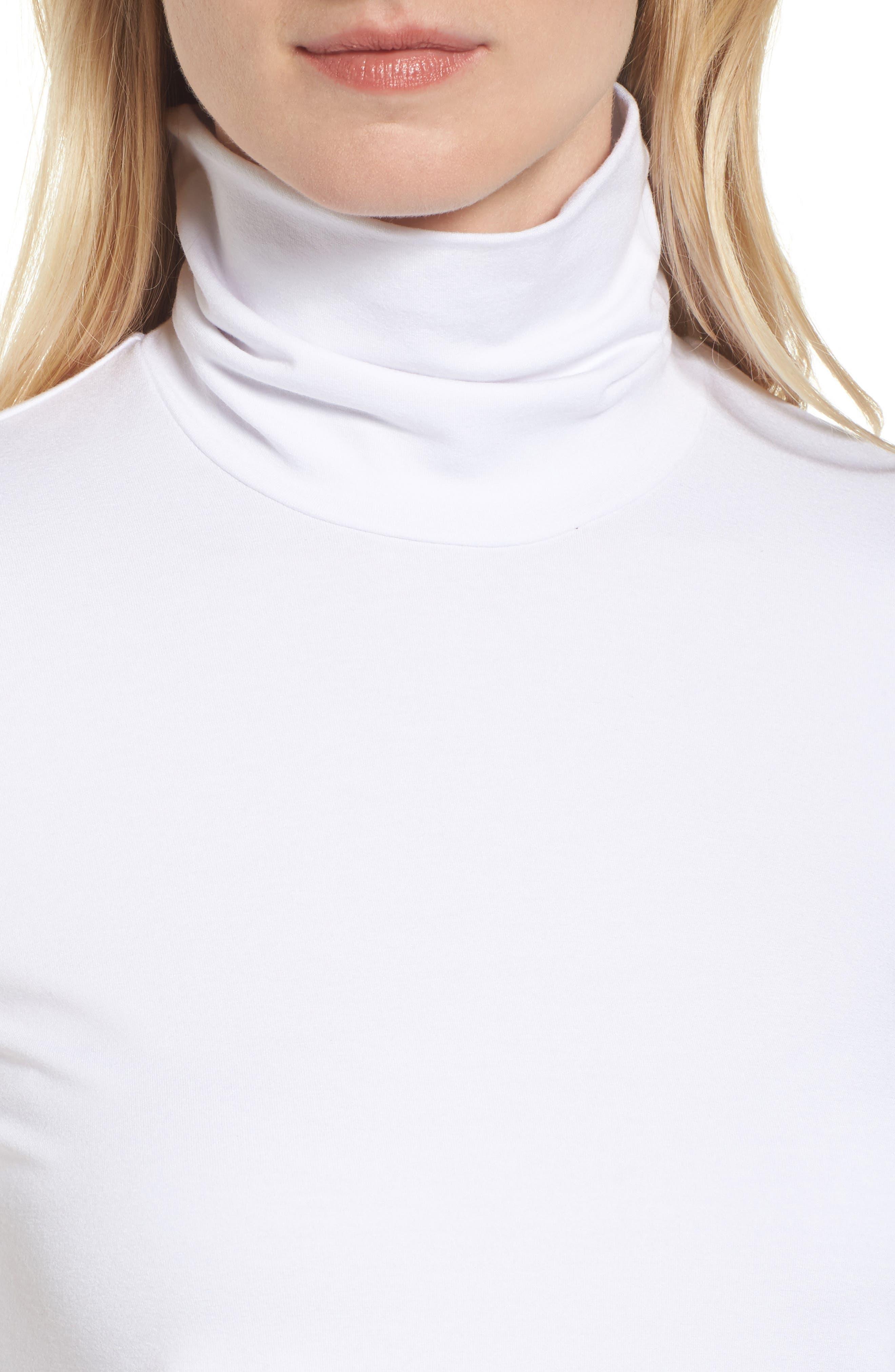 Scrunch Neck Jersey Top,                             Alternate thumbnail 4, color,                             White