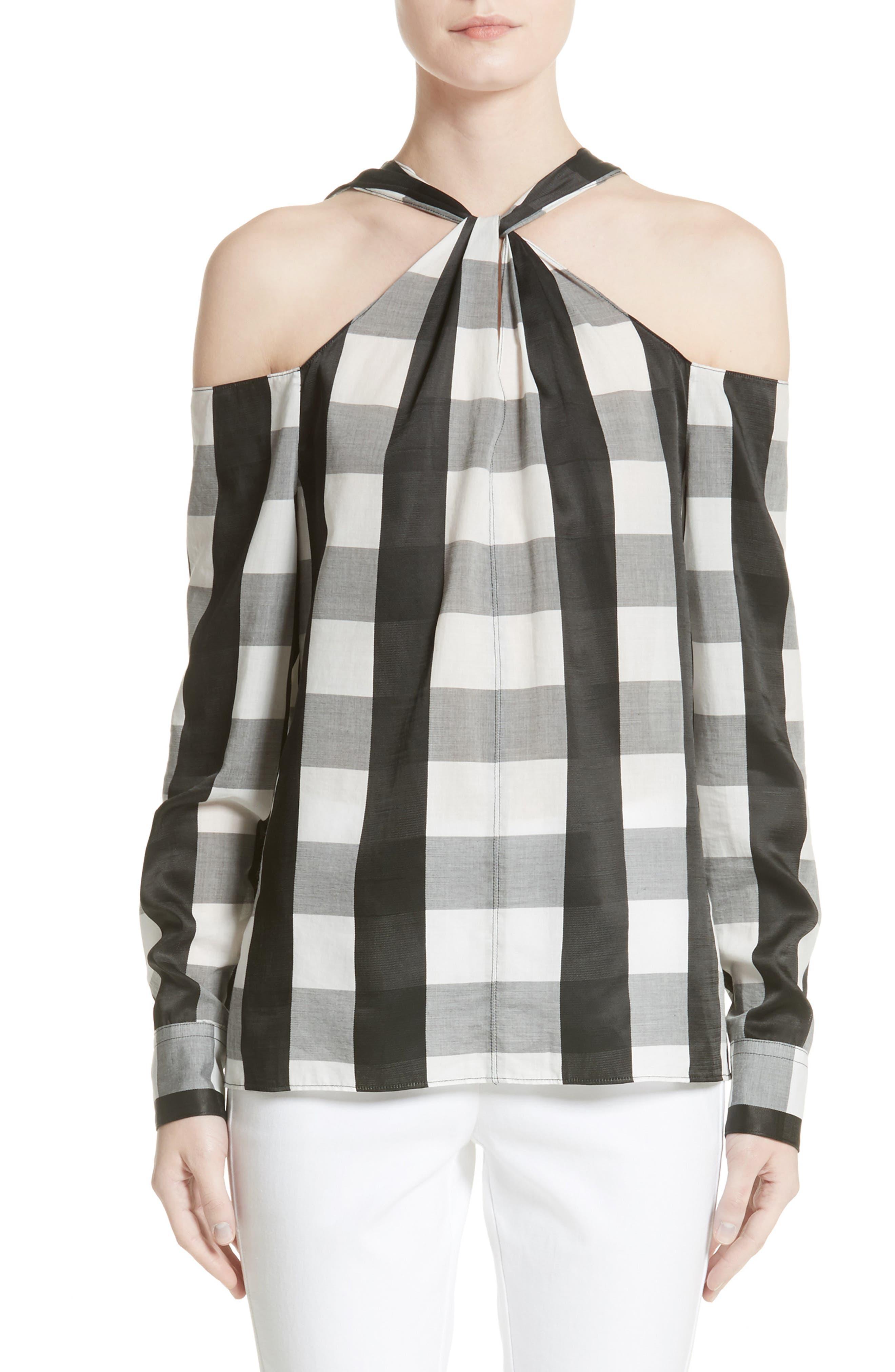 Collingwood Cold Shoulder Top,                         Main,                         color, Black/ White