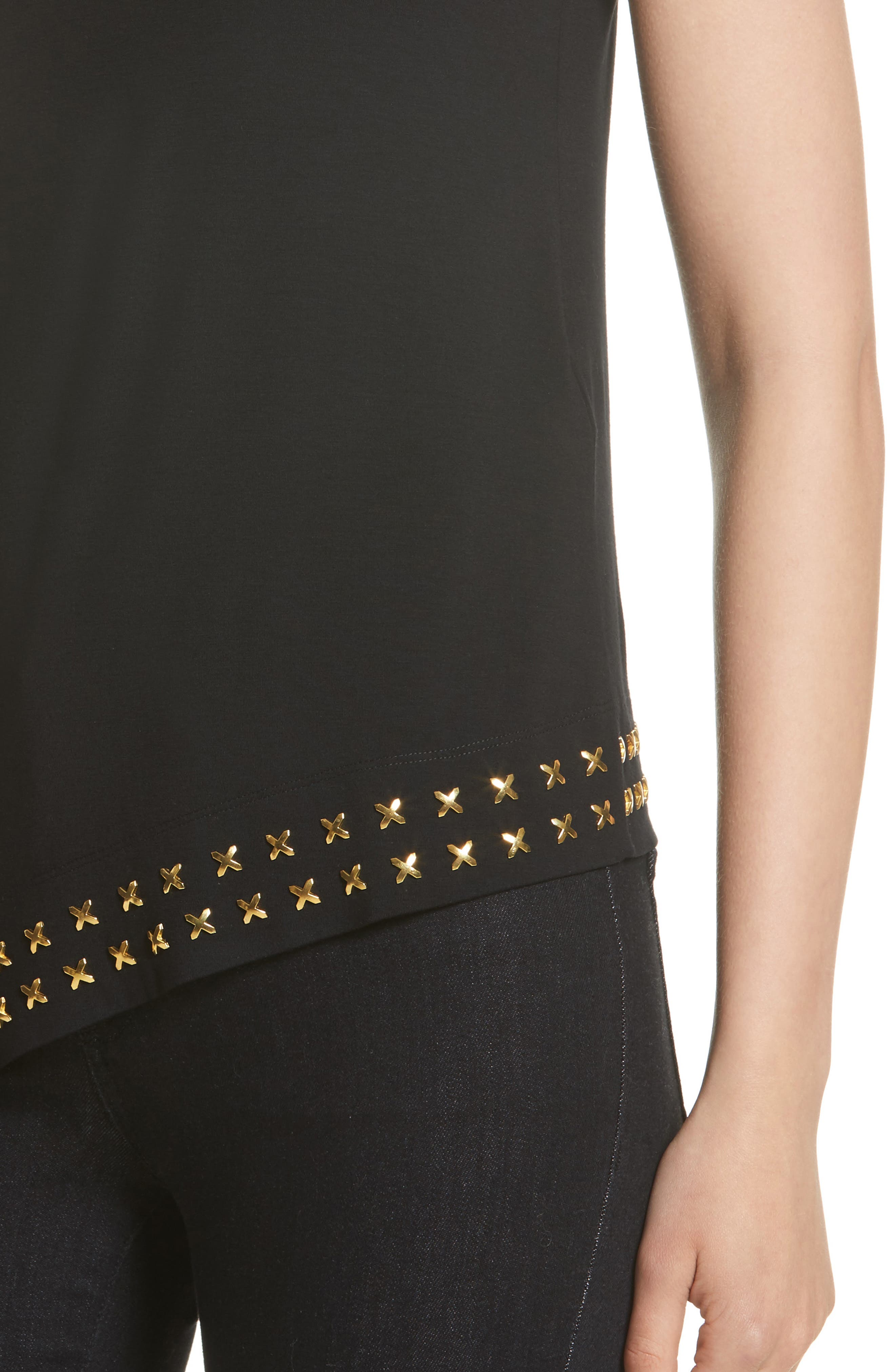 Alternate Image 6  - Versace Collection Hardware Embellished Jersey Asymmetrical Top