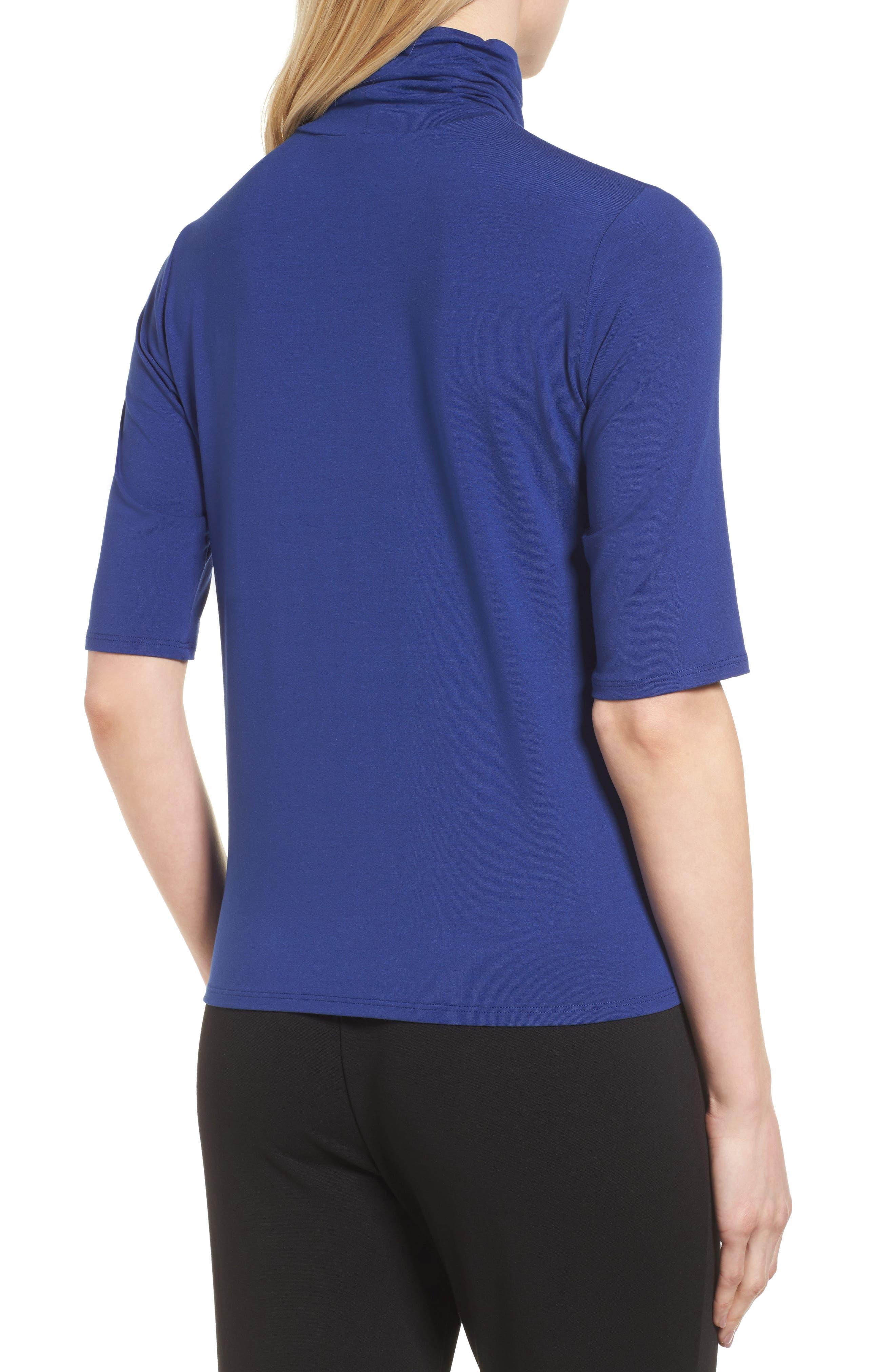 Alternate Image 2  - Eileen Fisher Scrunch Neck Jersey Top (Regular & Petite)