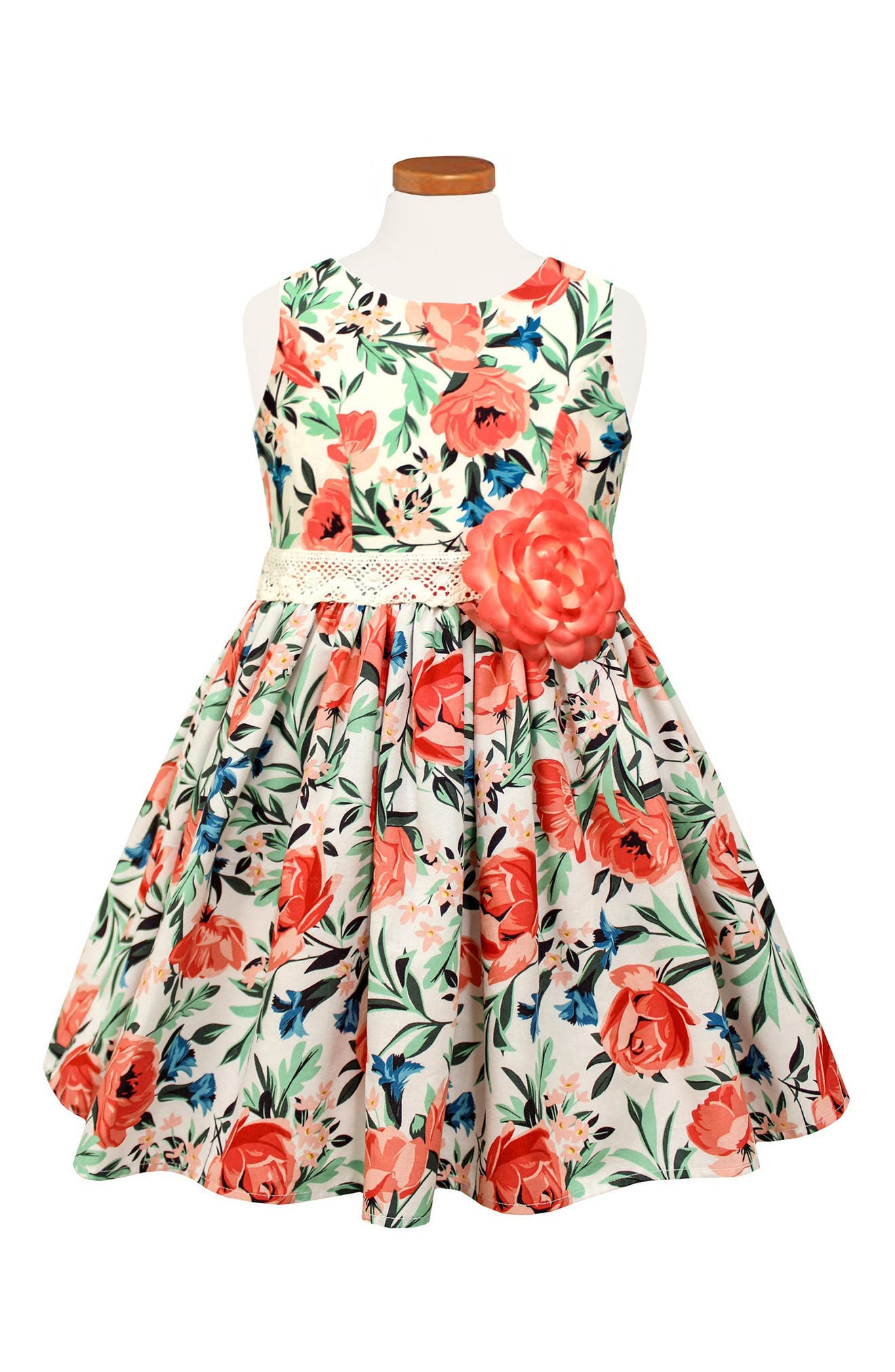 Floral Print Sleeveless Dress,                         Main,                         color, Coral