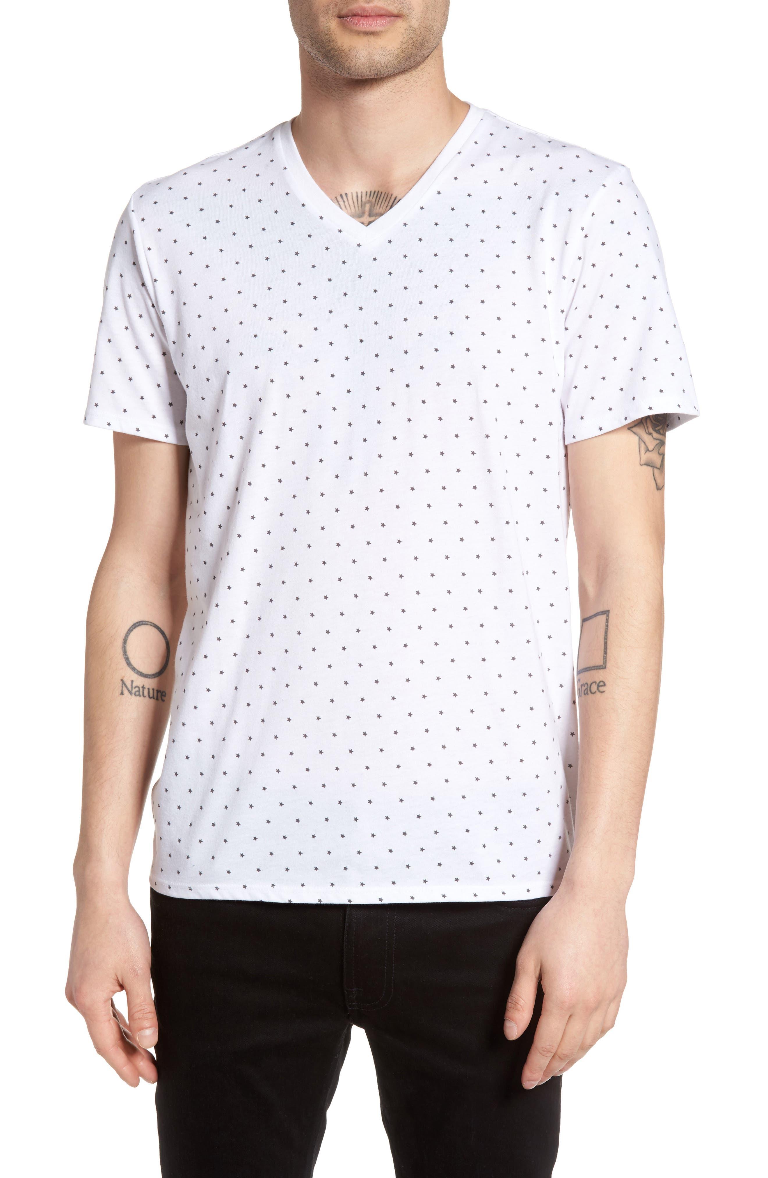 Print V-Neck T-Shirt,                         Main,                         color, White Star Print