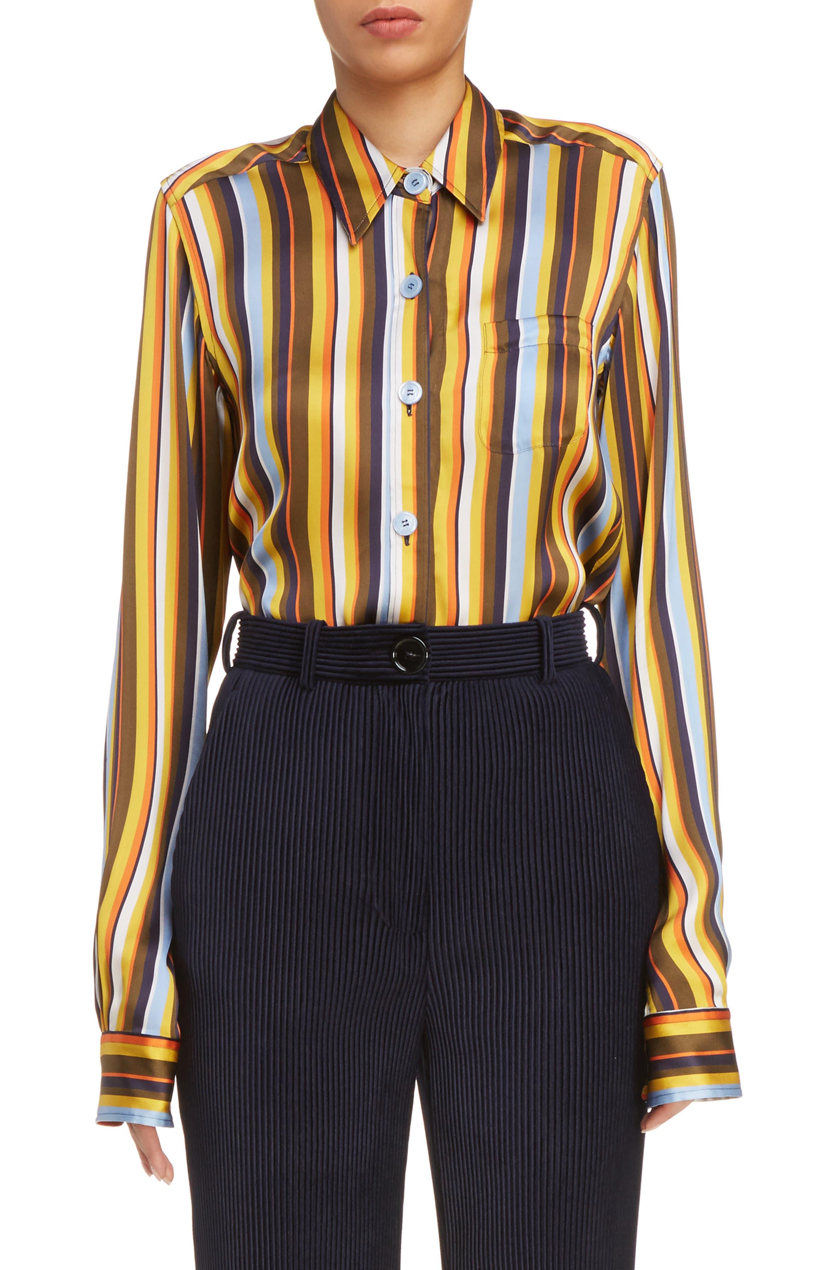 Buse Multistripe Blouse,                         Main,                         color, Multi Stripe Brown