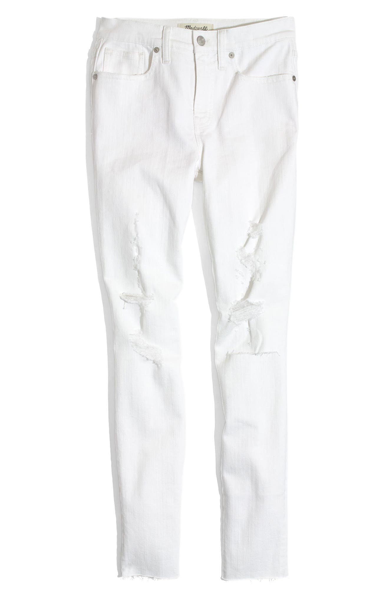 Alternate Image 4  - Madewell 9-Inch High-Rise Skinny Crop Jeans: Destructed Edition (Pure White)