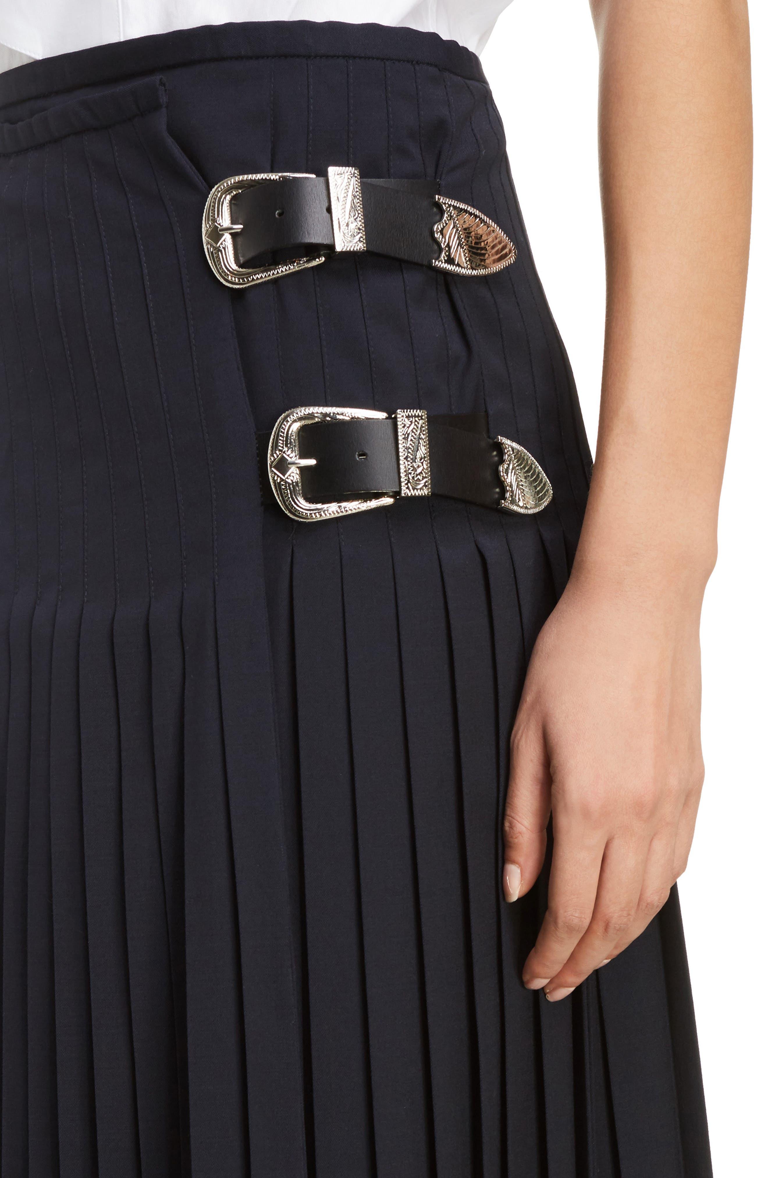 Pleated Wool Blend Skirt,                             Alternate thumbnail 5, color,                             Navy