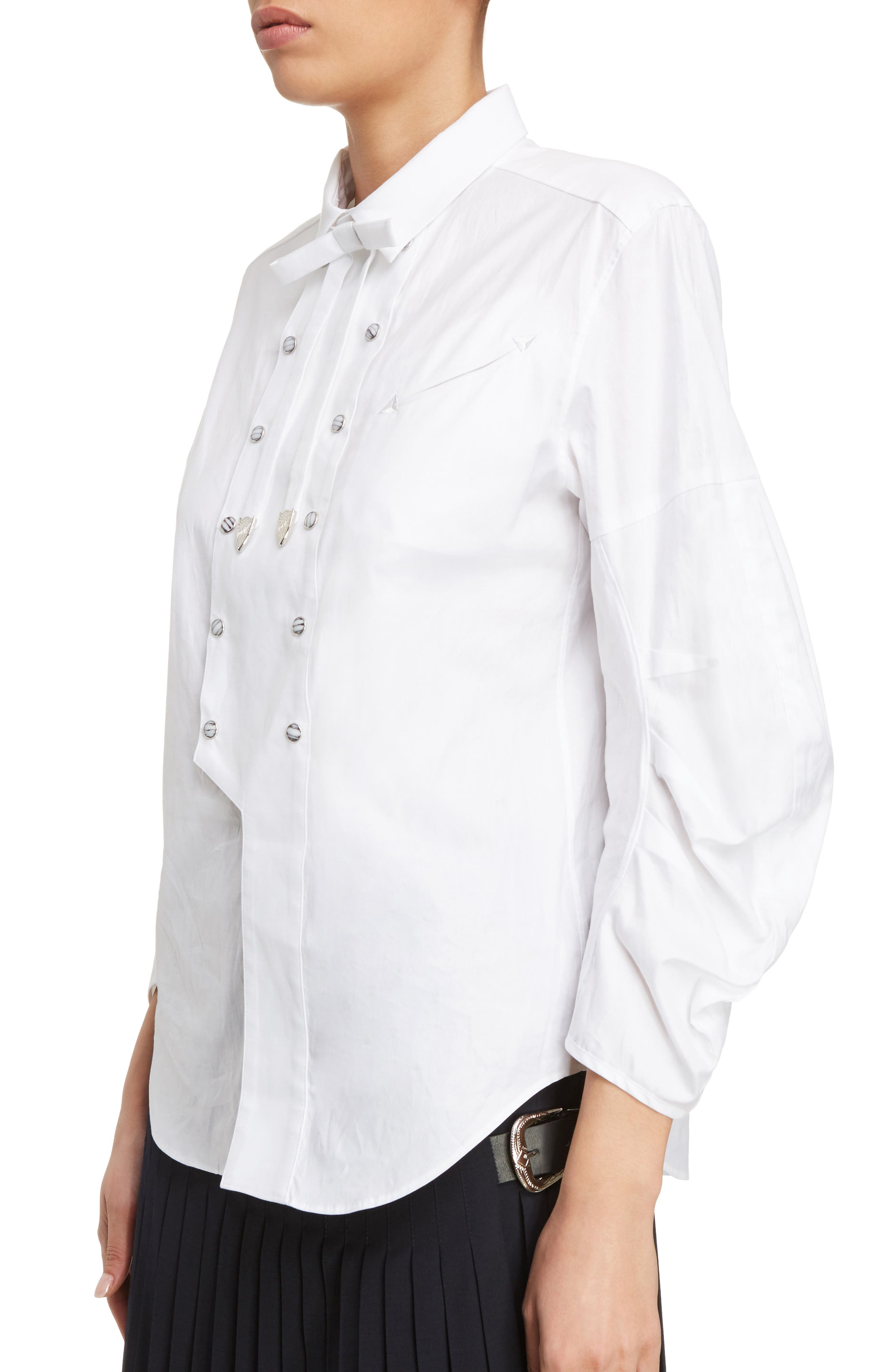 Double Breasted Bow Blouse,                             Alternate thumbnail 4, color,                             White