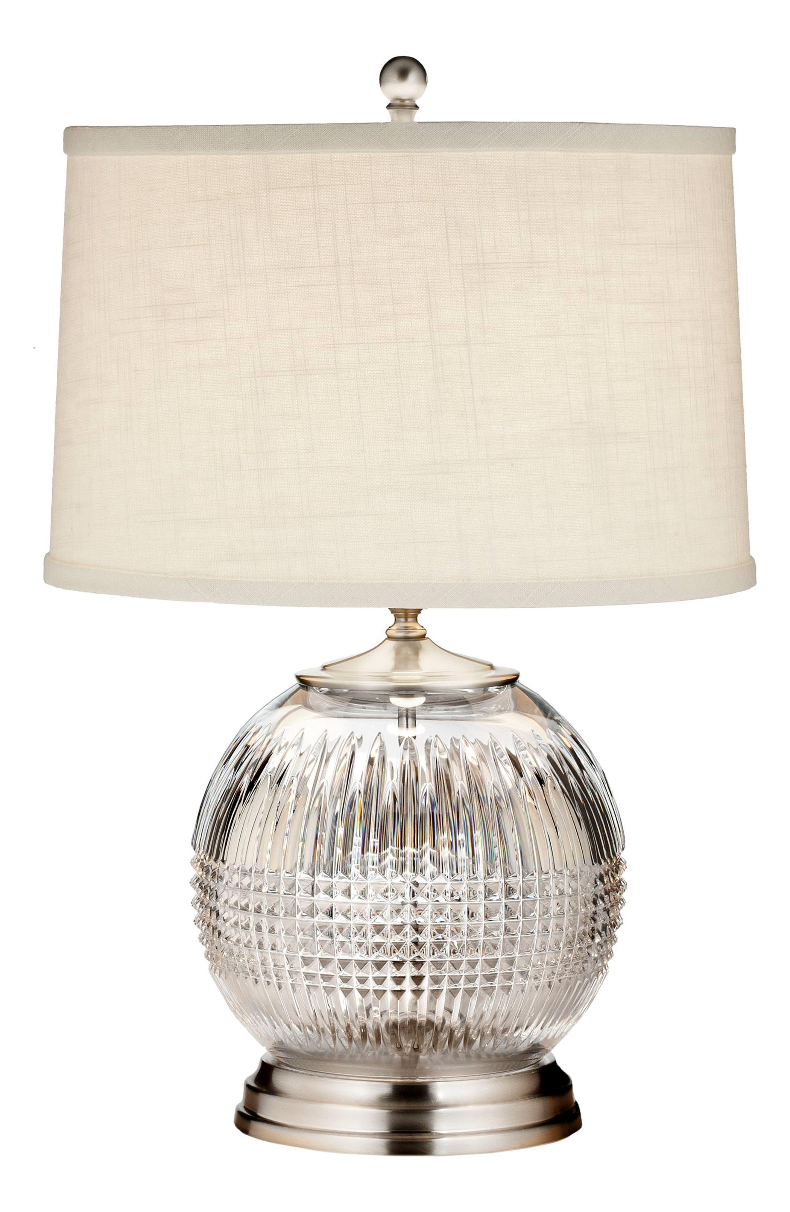 Waterford Lismore Diamond Lead Crystal & Chrome Table Lamp